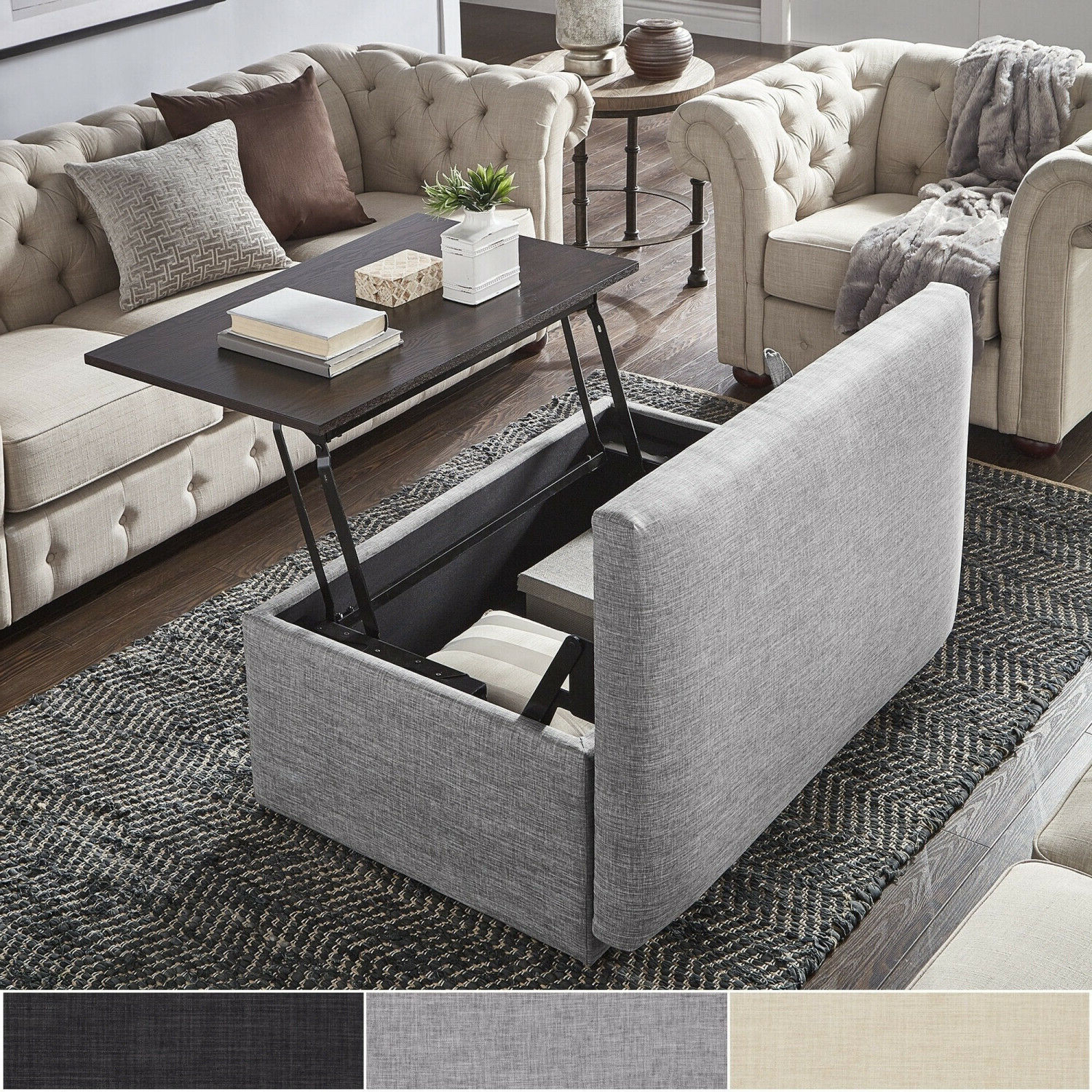 Landen Lift Top Upholstered Storage Ottoman Coffee Tableinspire Q  Artisan Throughout Well Liked Lennon Pine Square Storage Ottoman Coffee Tables (View 5 of 20)