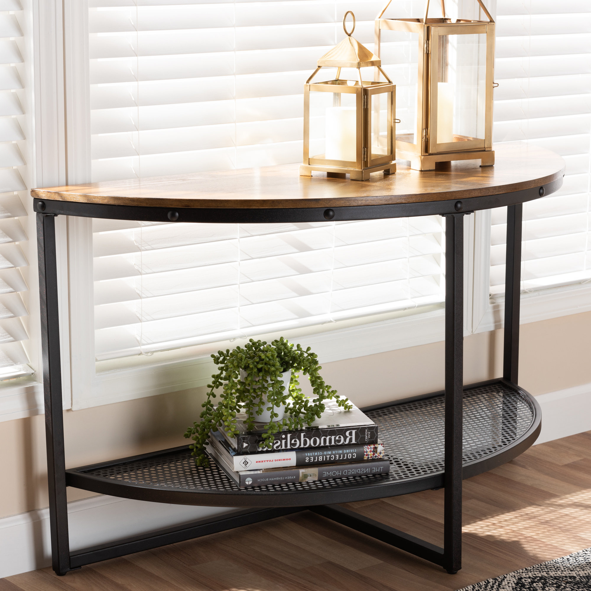 Latest Carbon Loft Peter Matte Black Slatted Coffee Tables In Alfano Vintage Rustic Industrial Console Table (View 7 of 20)