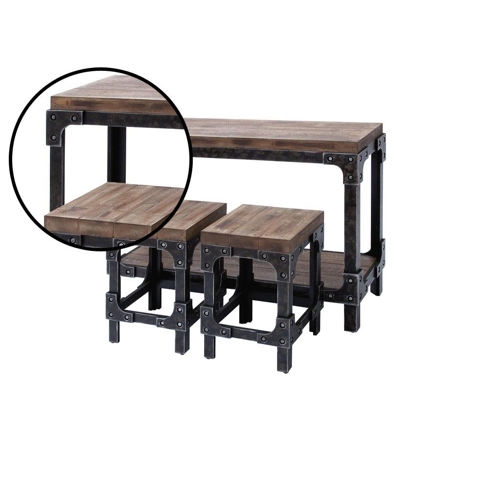 Latest Cosbin Rustic Bold Antique Black Coffee Tables With Regard To Distressed Brown And Gray Industrial Table With Square Stools (View 15 of 20)