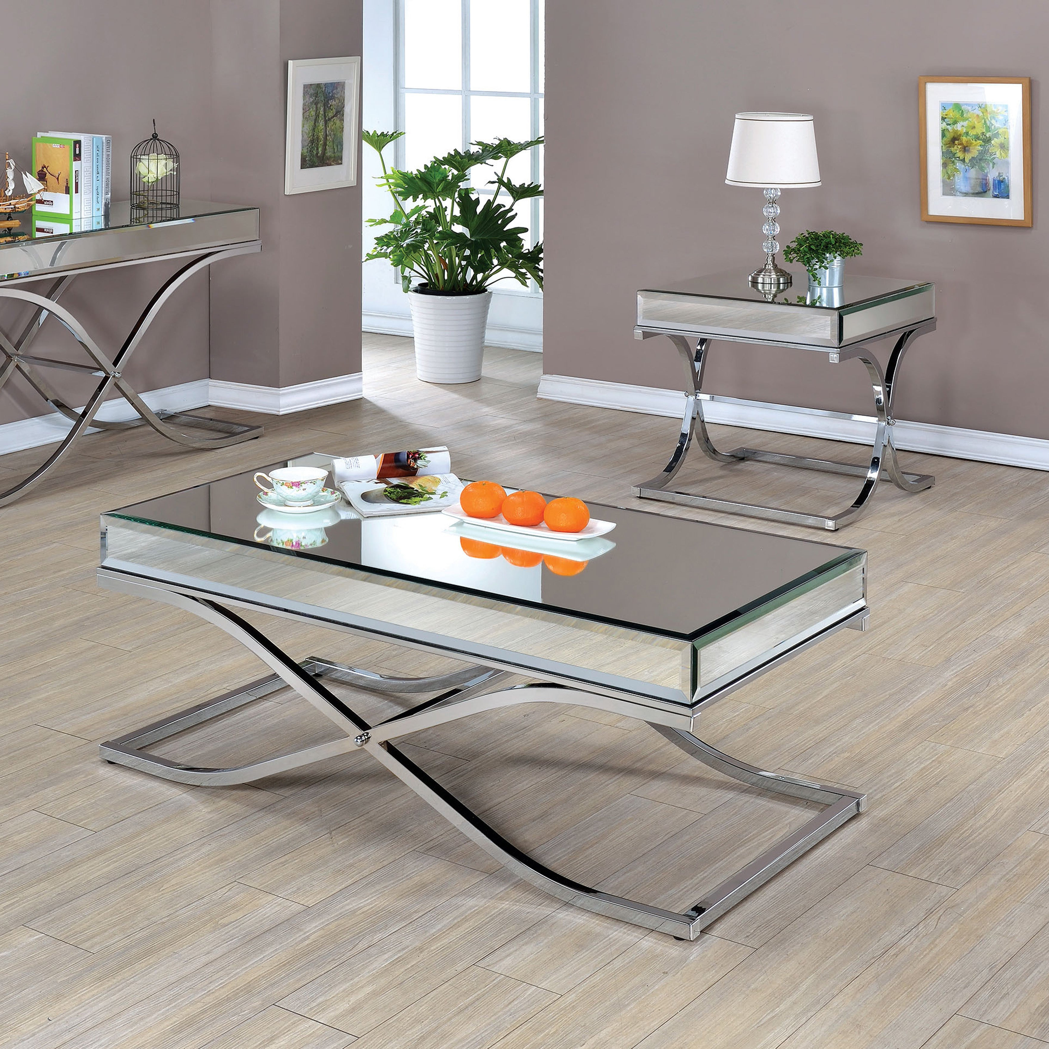 Latest Furniture Of America Orelia Brass Luxury Copper Metal Coffee Tables Throughout Furniture Of America Orelia Luxury Chrome 2 Piece Accent Table Set – Chrome/black (View 12 of 20)