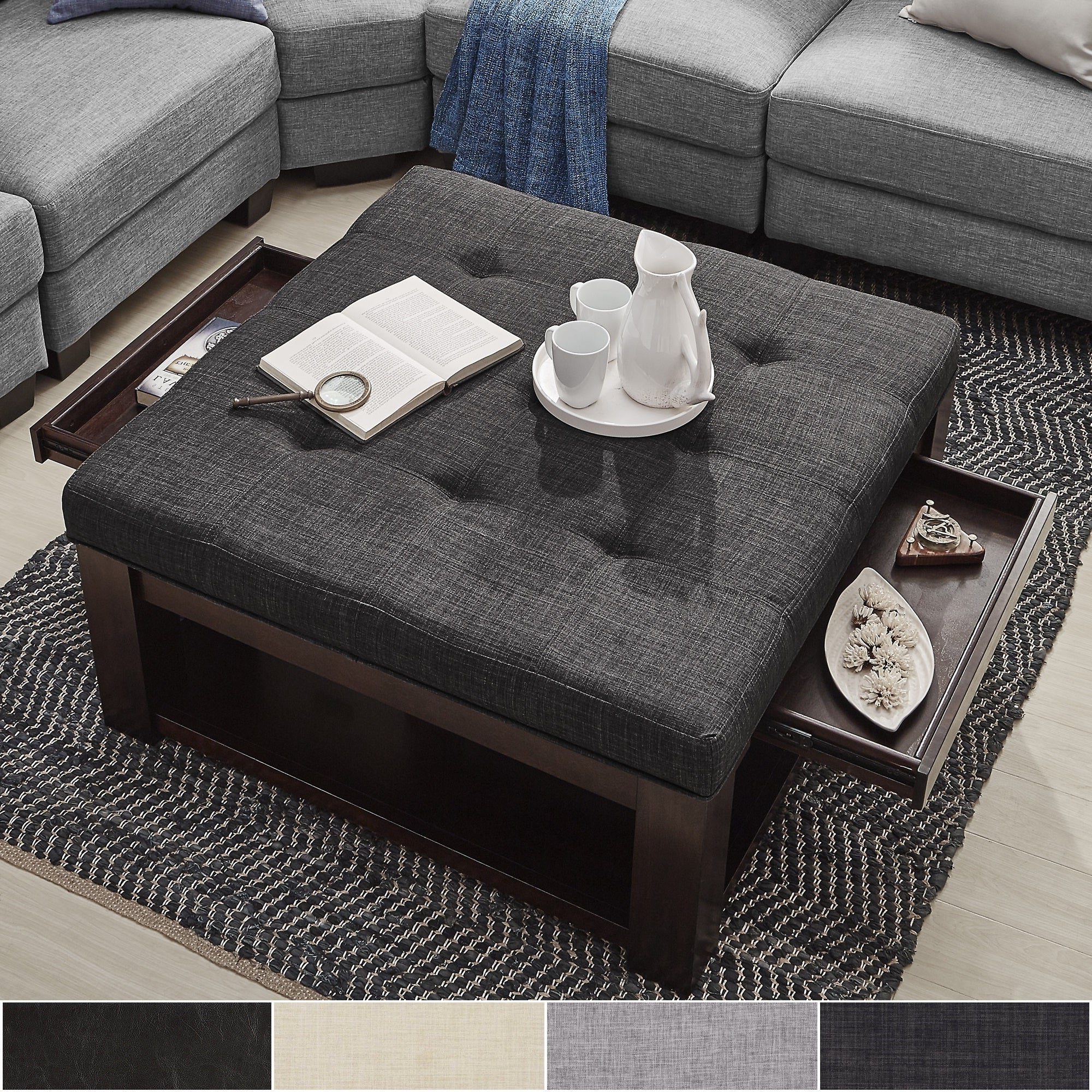 Latest Lennon Pine Square Storage Ottoman Coffee Tables Intended For Lennon Espresso Square Storage Ottoman Coffee Tableinspire Q Classic – 38 X 38 X (View 9 of 20)
