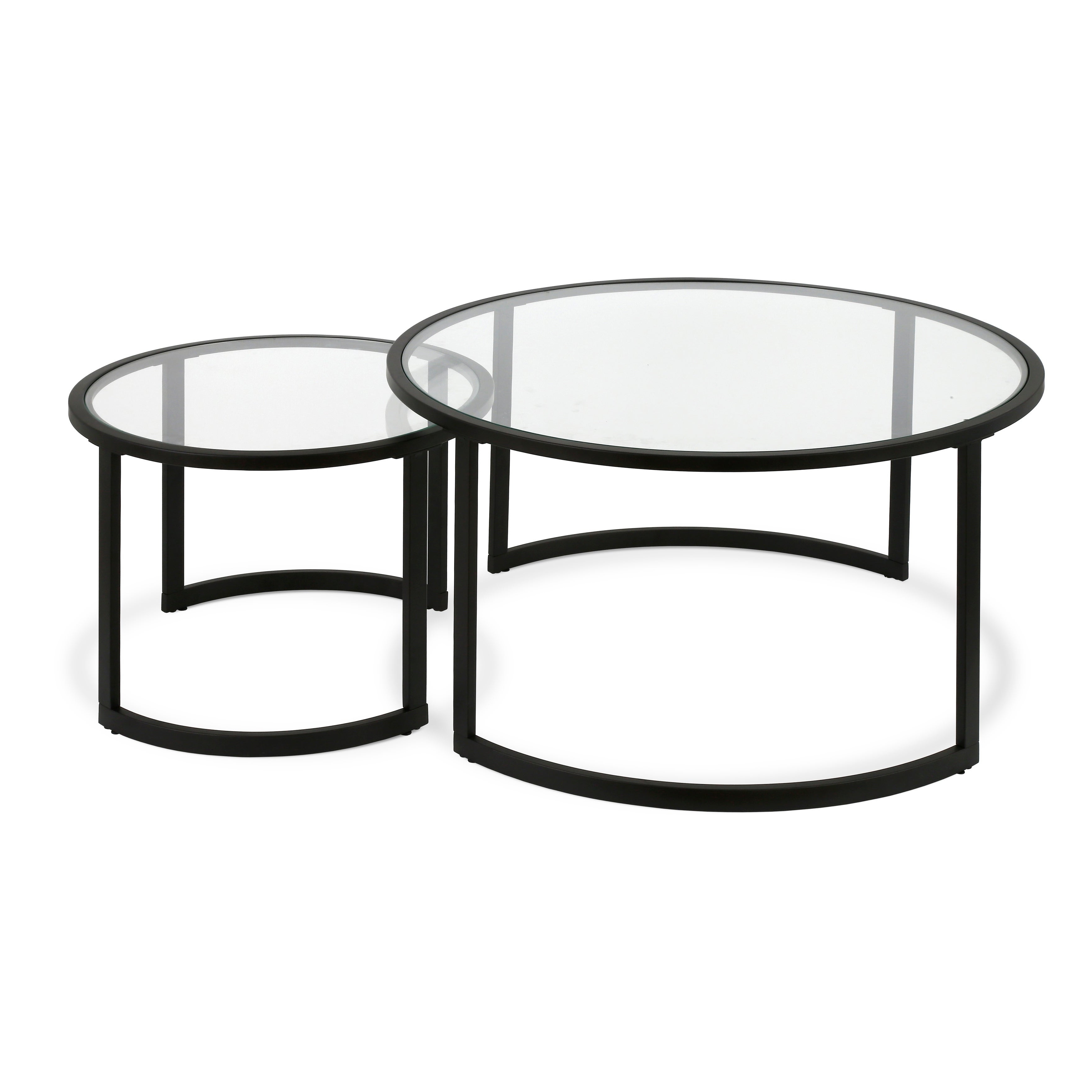 Latest Mitera Round Metal Glass Nesting Coffee Tables Throughout Mitera Round Metal/glass Nesting Coffee Tables Set Of 2 (Optional Finishes) (View 6 of 20)