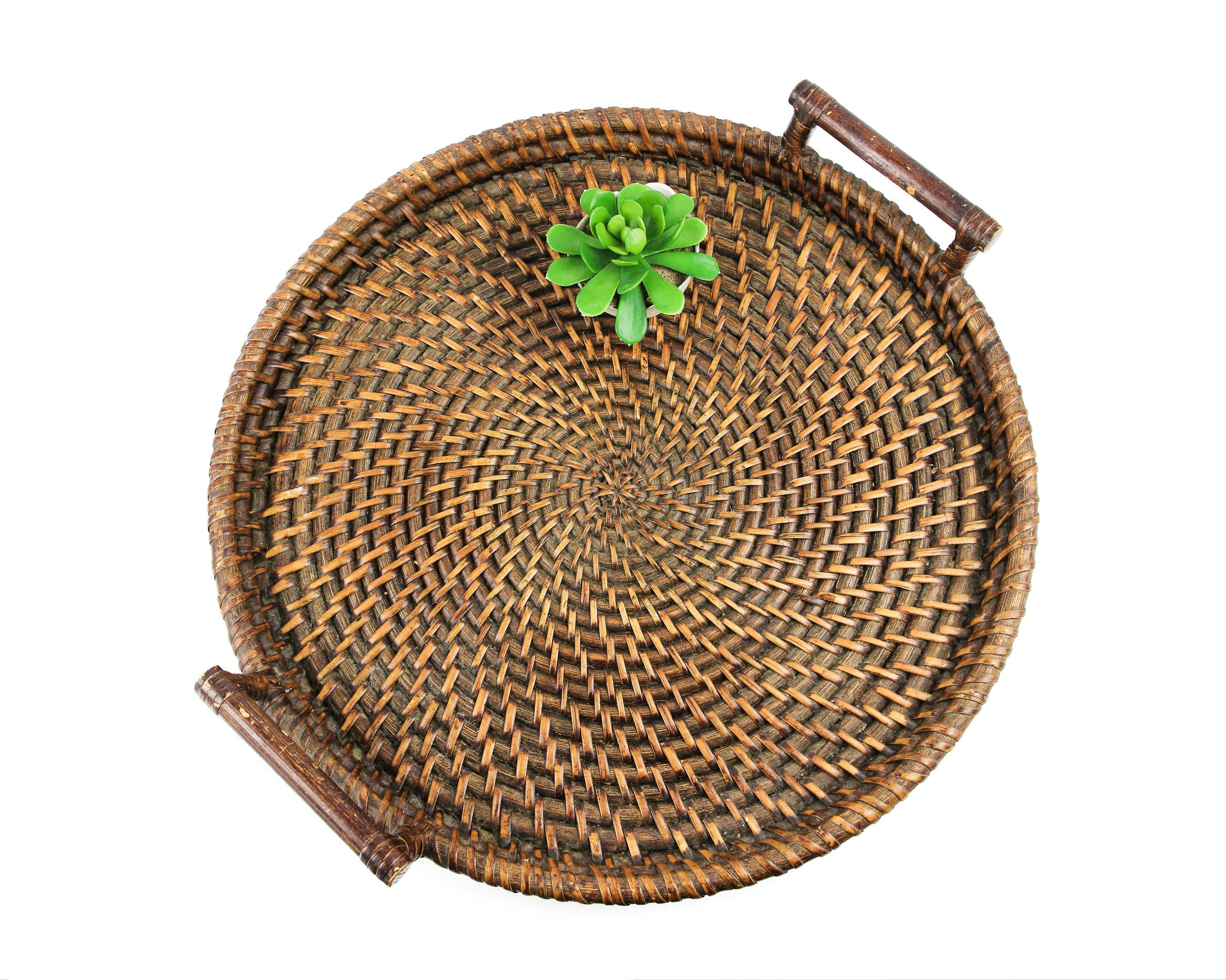 """Latest Rustic Coffee Tables With Wicker Storage Baskets Regarding Large 21"""" Vintage Wicker Tray, Round Basket Tray With (View 14 of 20)"""