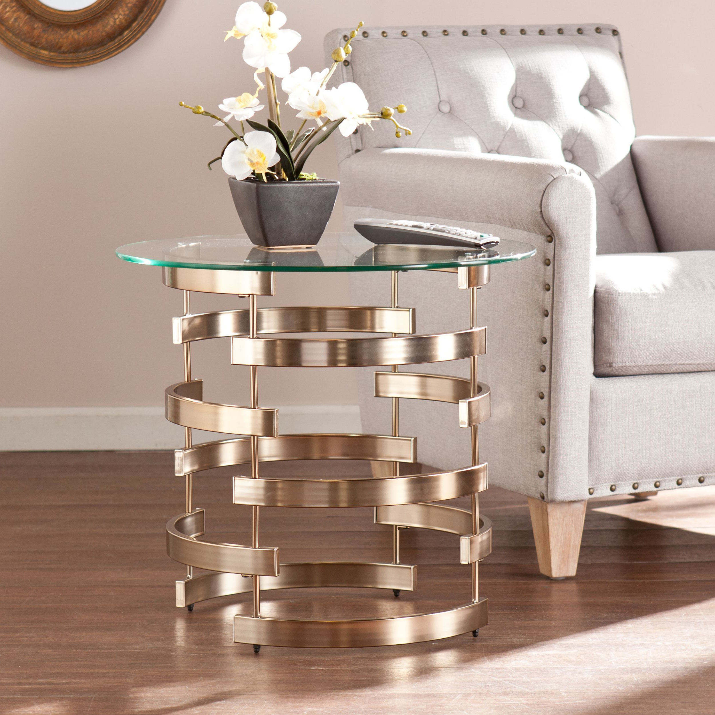 Latest Silver Orchid Bardeen Round Coffee Tables In Enhance The Look Of Your Contemporary Living Room With This (View 9 of 20)