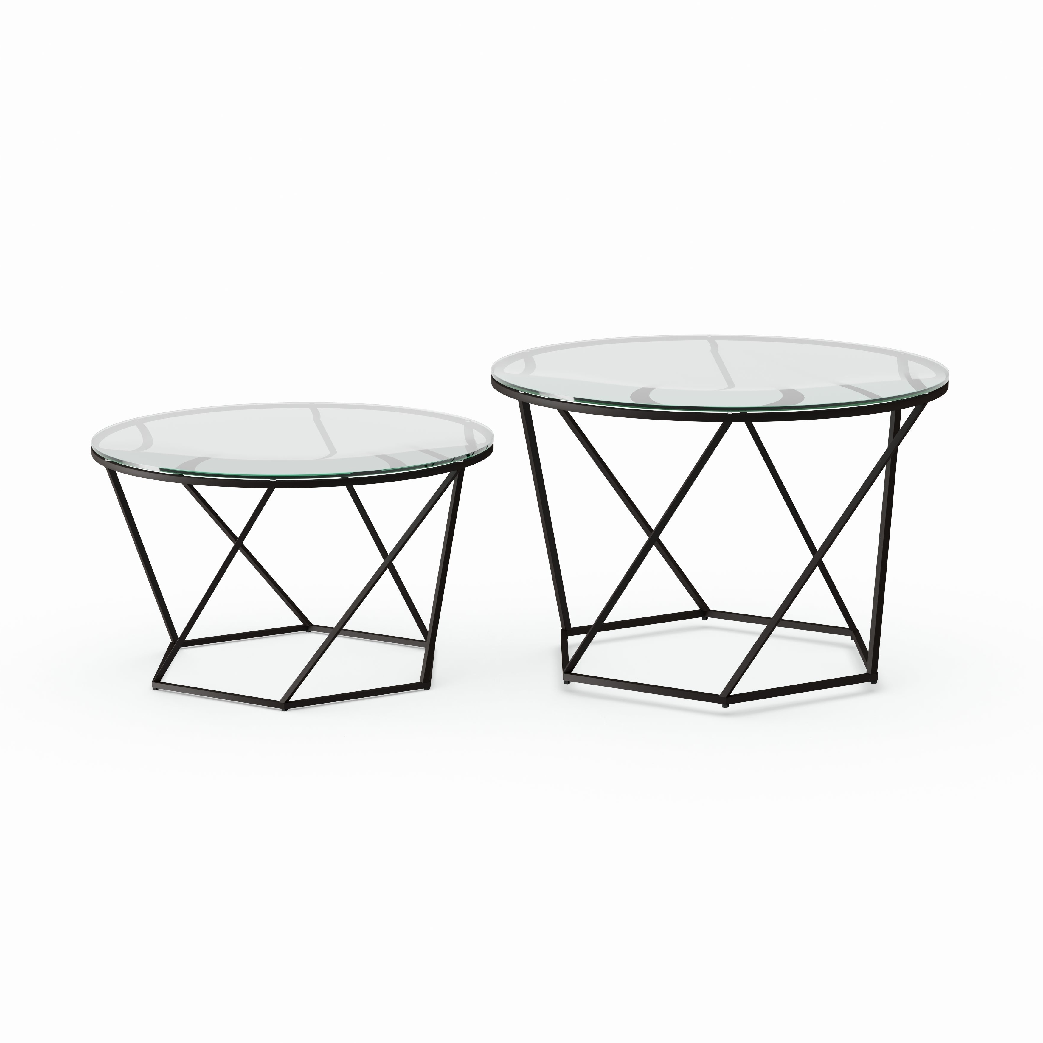 Latest Silver Orchid Grant Glam Nesting Cocktail Tables Intended For Silver Orchid Grant Round Glass Nesting Coffee Table Set – (View 9 of 20)