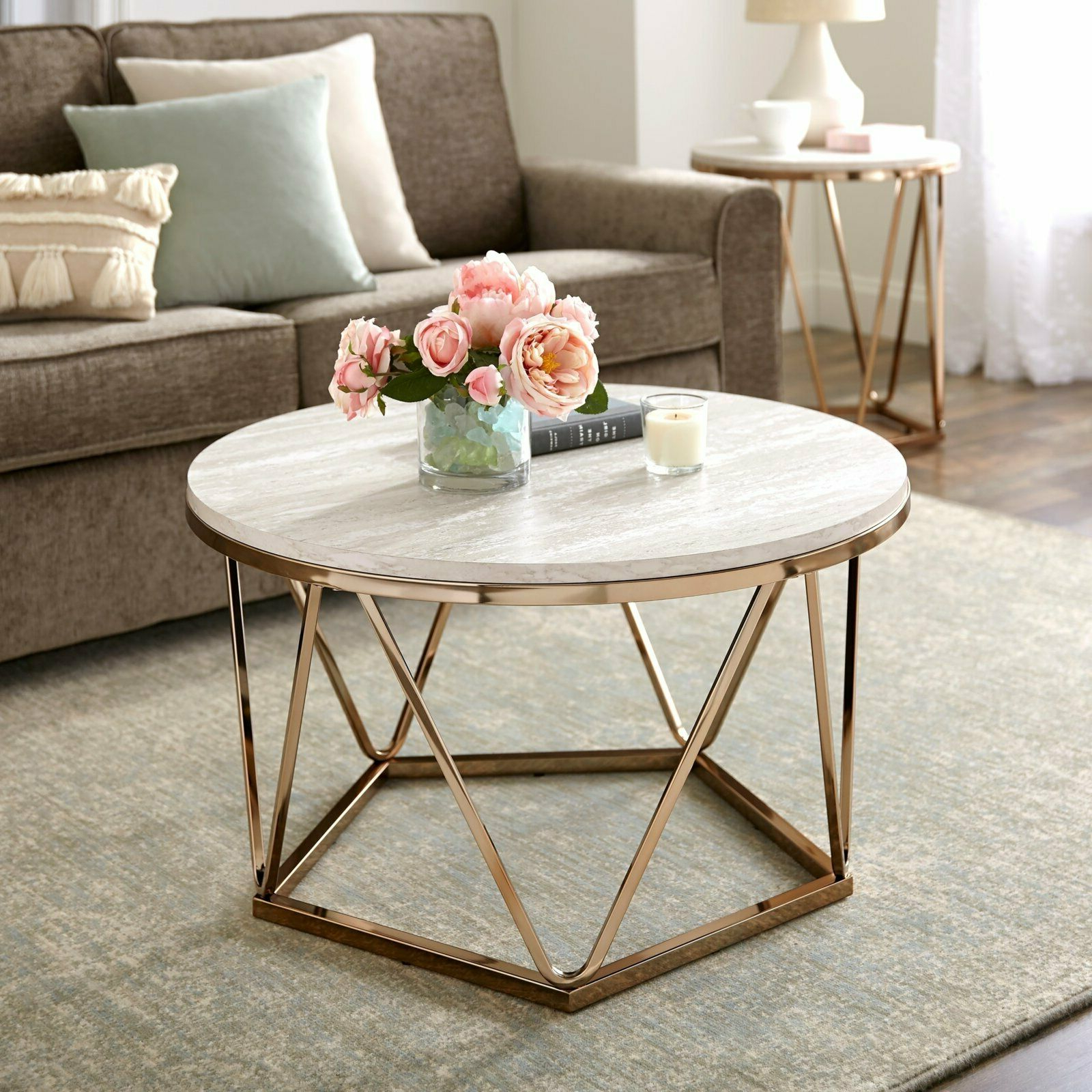 Latest Silver Orchid Ipsen Round Coffee Tables With X Base With Details About Silver Orchid Henderson Faux Stone Goldtone Round Coffee Table (View 17 of 20)
