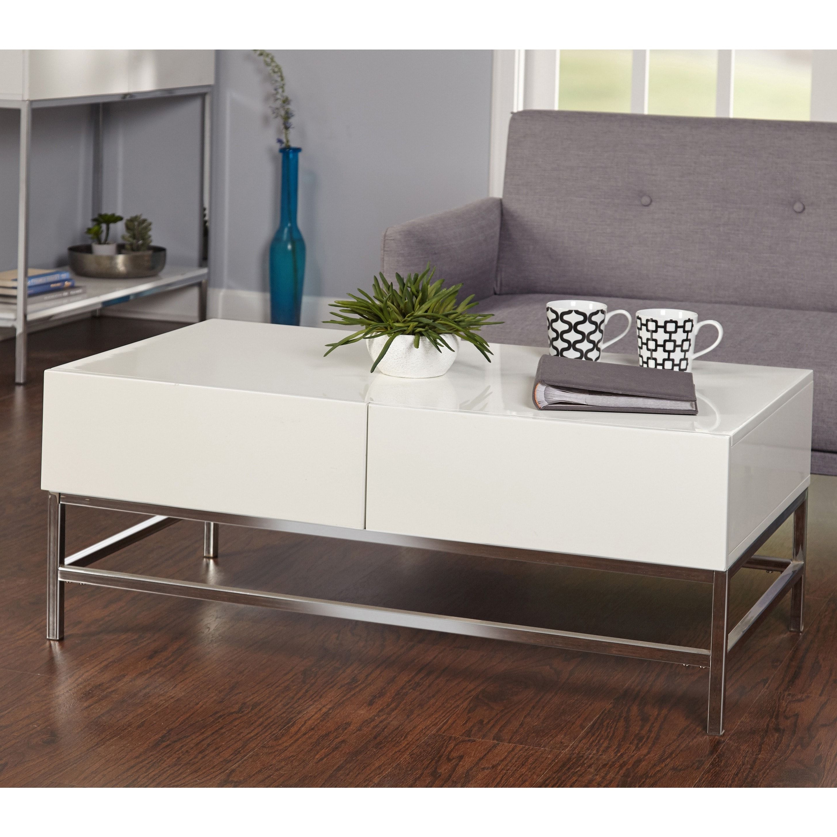 Latest Thalberg Contemporary Chrome Coffee Tables By Foa With Simple Living White Metal High Gloss Coffee Table (View 6 of 20)