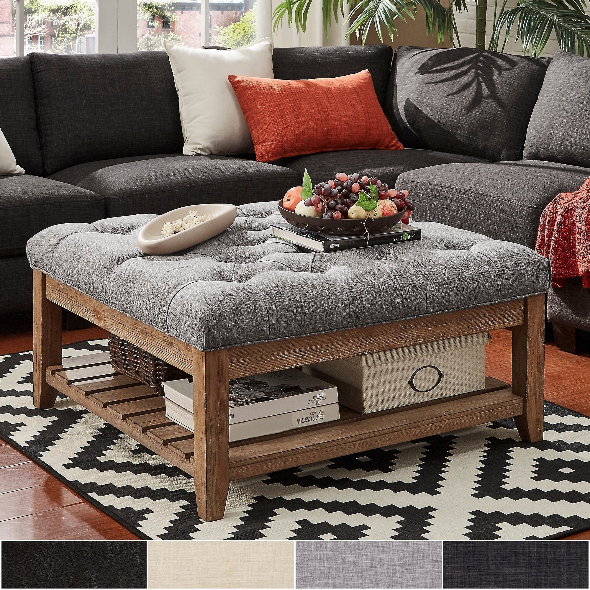 Featured Photo of Lennon Pine Planked Storage Ottoman Coffee Tables