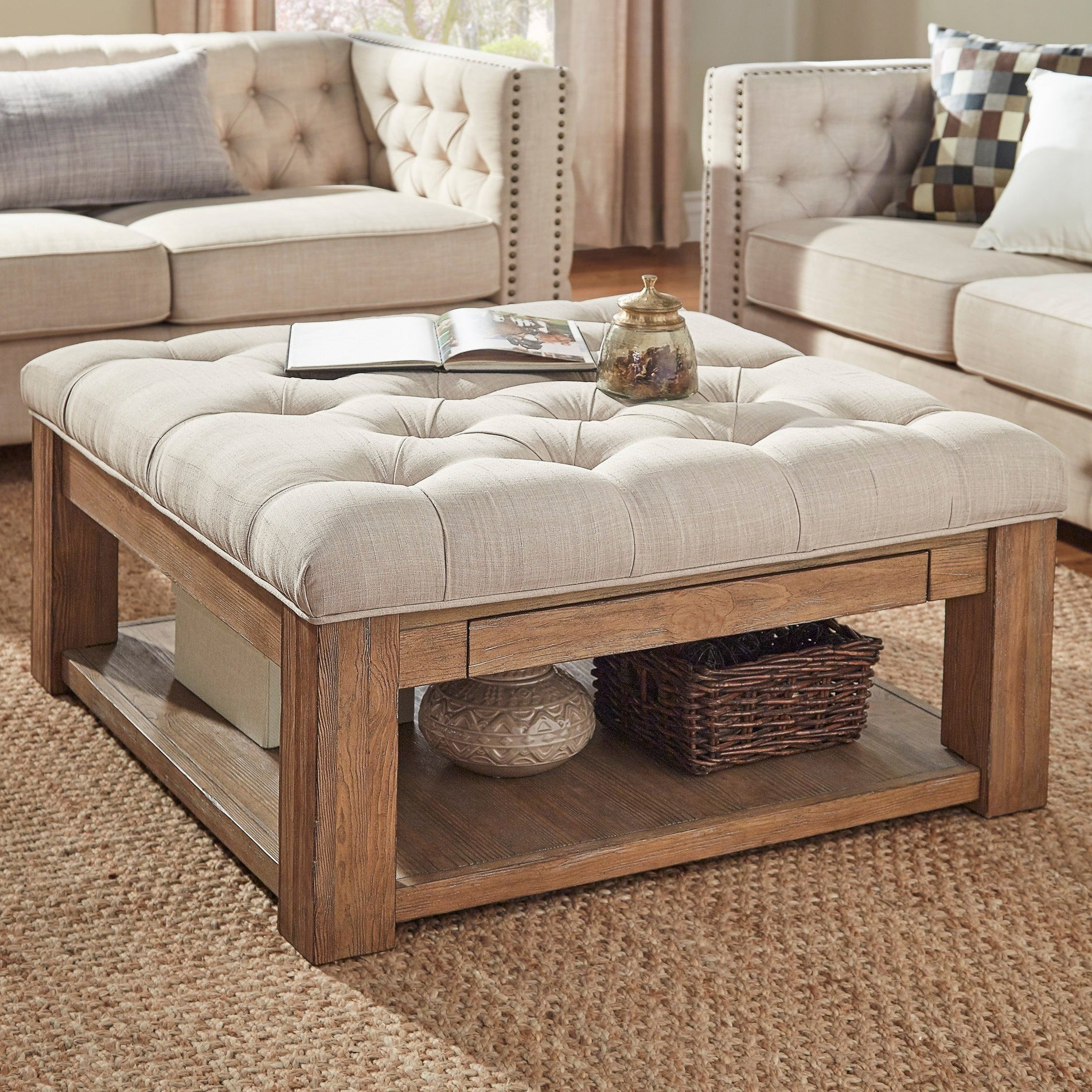 Featured Photo of Lennon Pine Square Storage Ottoman Coffee Tables