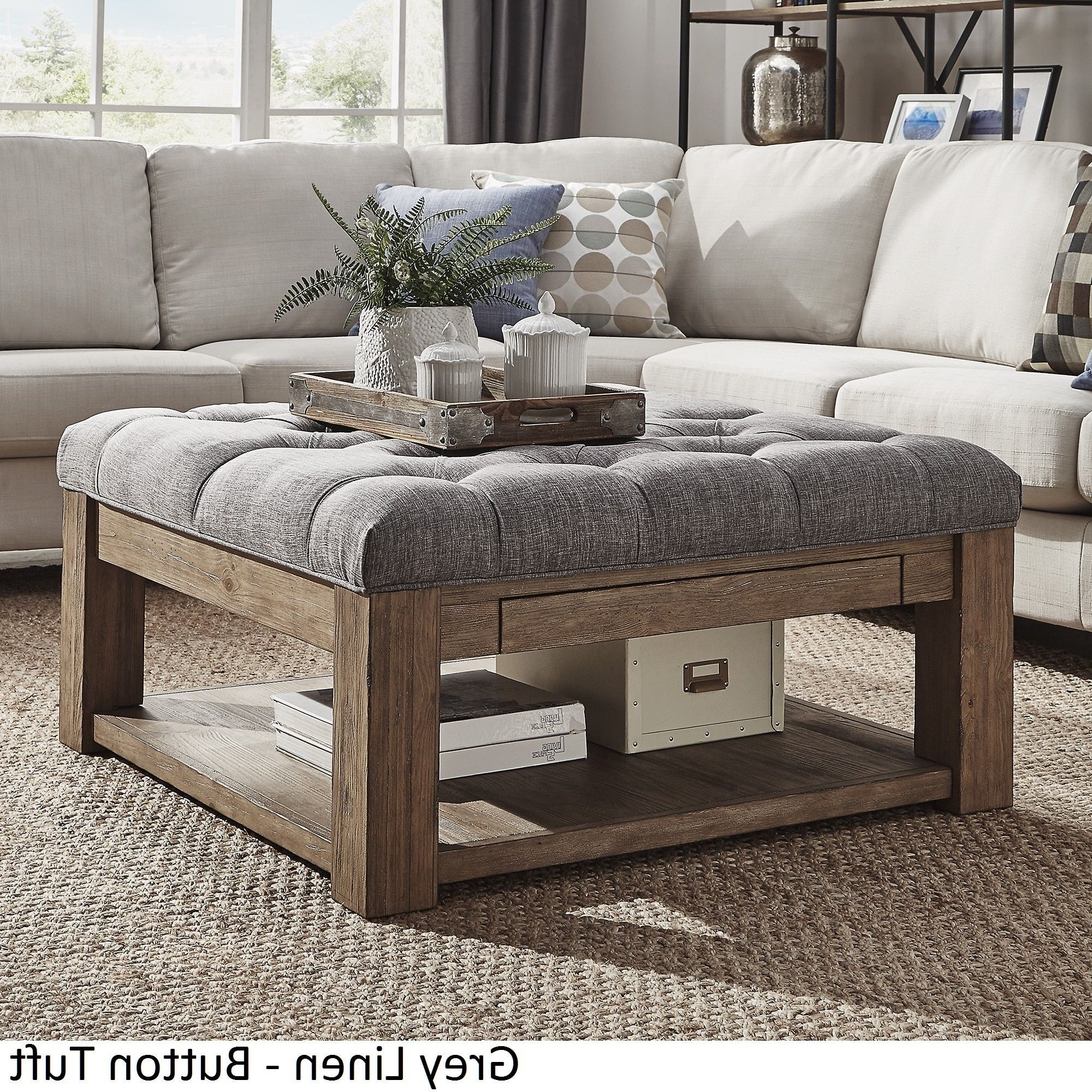Lennon Pine Square Storage Ottoman Coffee Tableinspire Q In Well Known Lennon Pine Square Storage Ottoman Coffee Tables (View 11 of 20)
