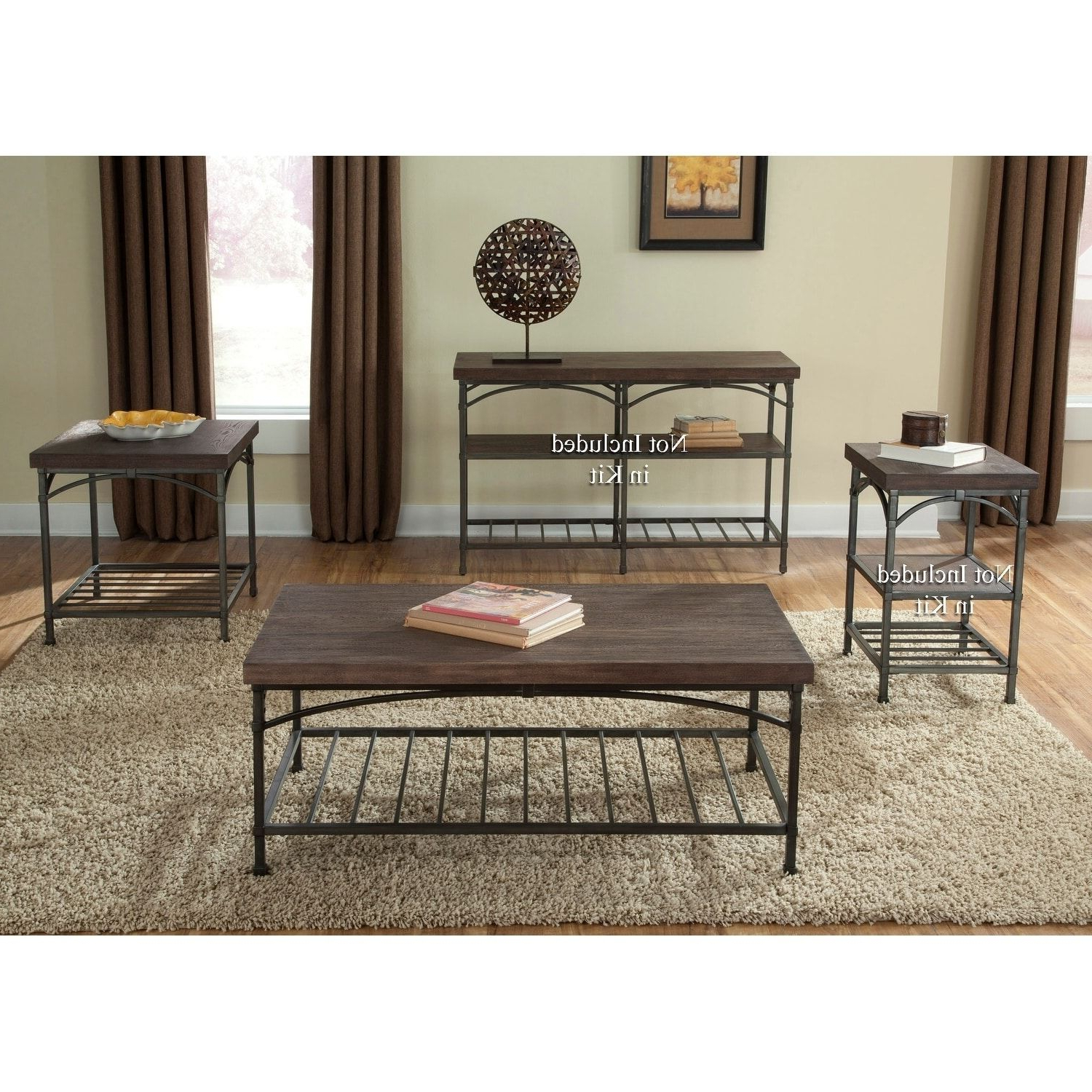 Liberty Franklin Rustic And 3 Piece Occasional Set Throughout Trendy Carbon Loft Kenyon Cube Brown Wood Rustic Coffee Tables (View 12 of 20)