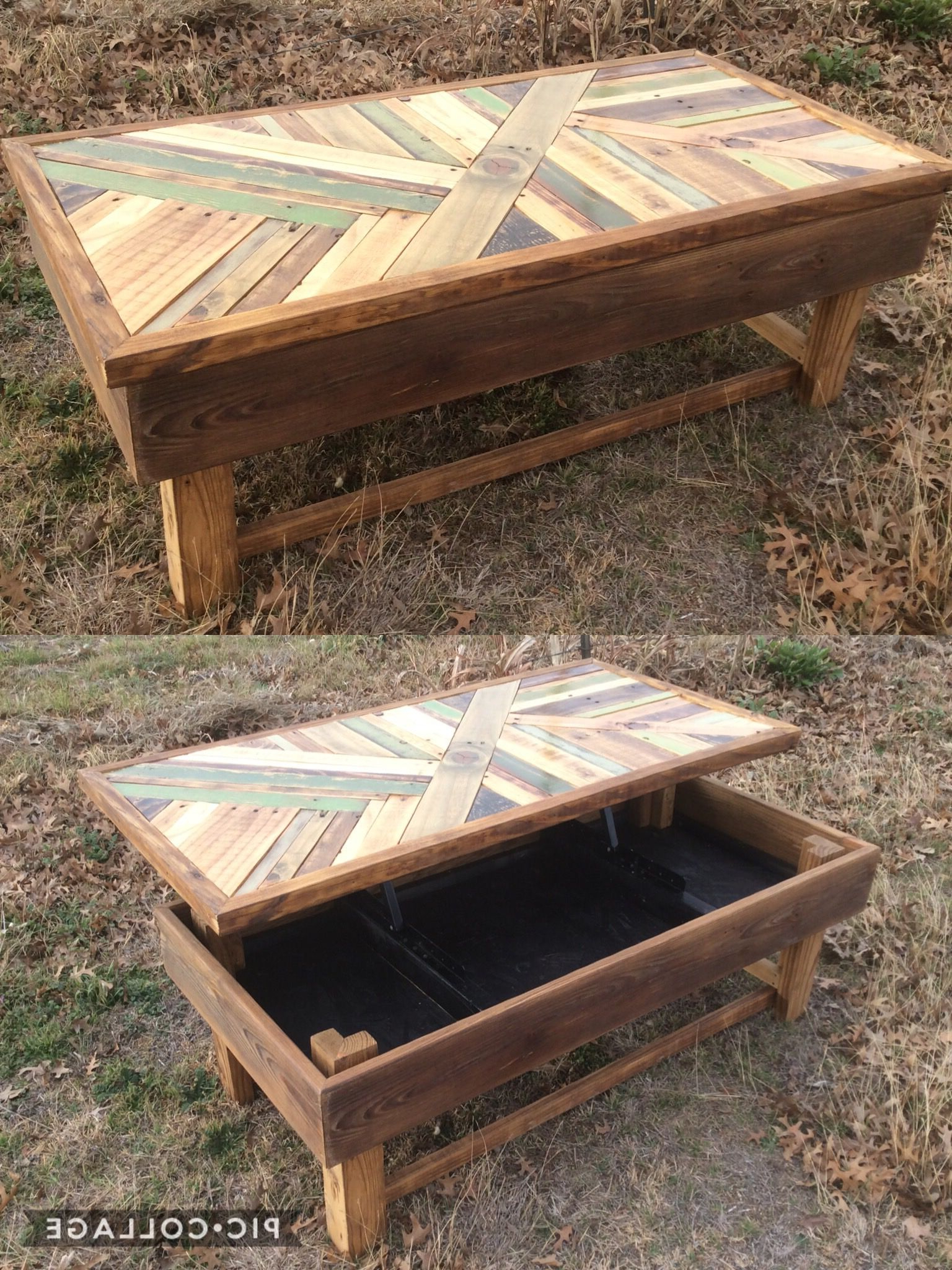 Lift Up Coffee Table Made From Reclaimed Wood And Rustic With Regard To Most Recent Montgomery Industrial Reclaimed Wood Coffee Tables With Casters (View 10 of 20)