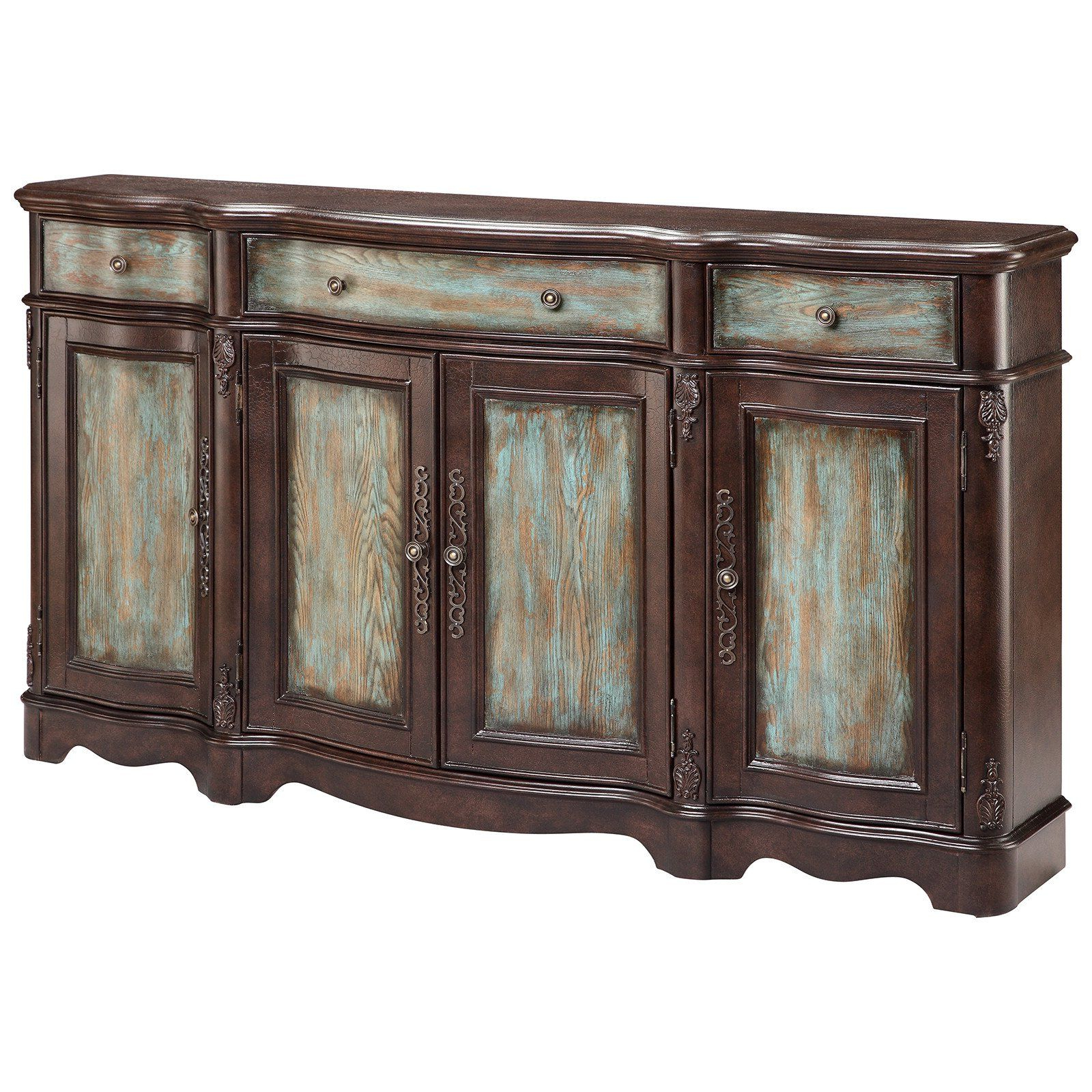 Lyle 4 Door Sideboard In Brown And Blue | Credenzas, Chests For Hewlett Sideboards (View 4 of 20)