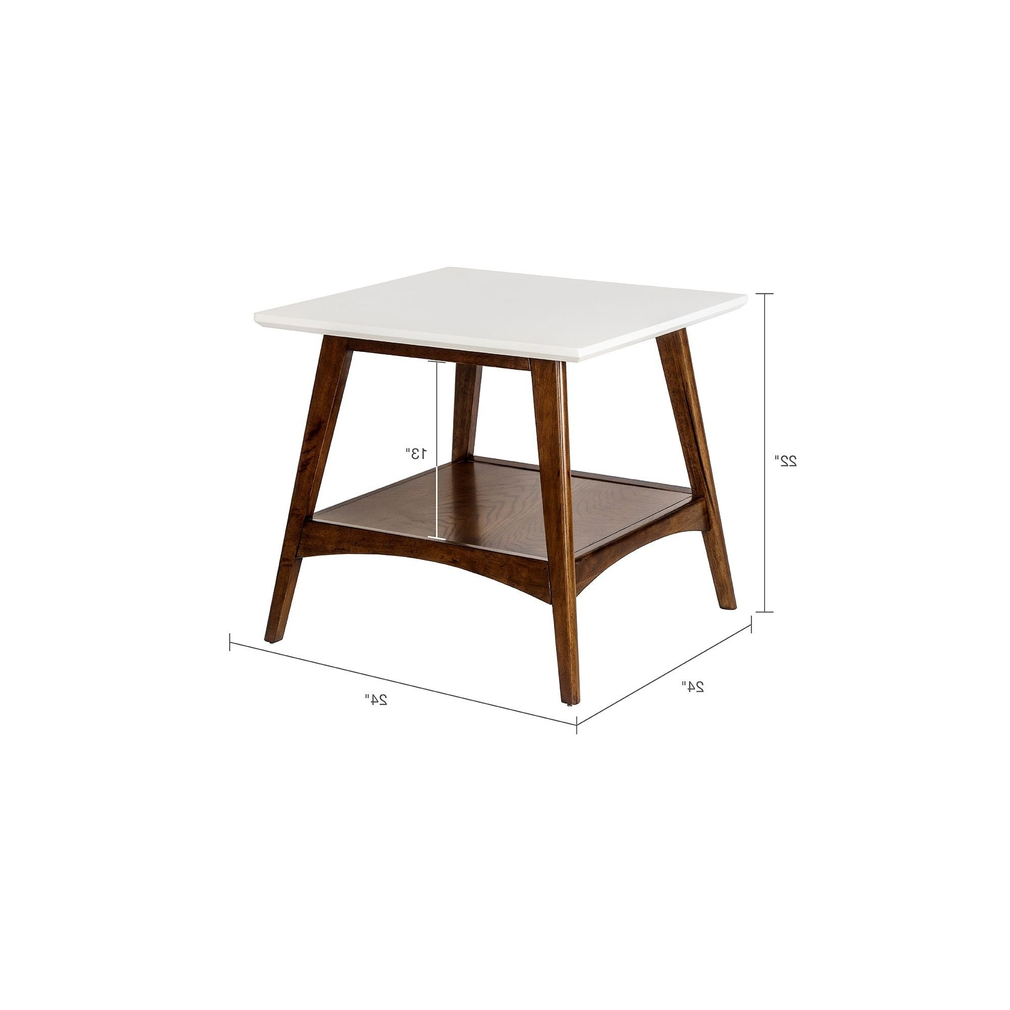 "Madison Park Avalon White/ Pecan End Table – 24""w X 24""d X 22""h For Popular Madison Park Avalon White Pecan Coffee Tables (View 7 of 20)"