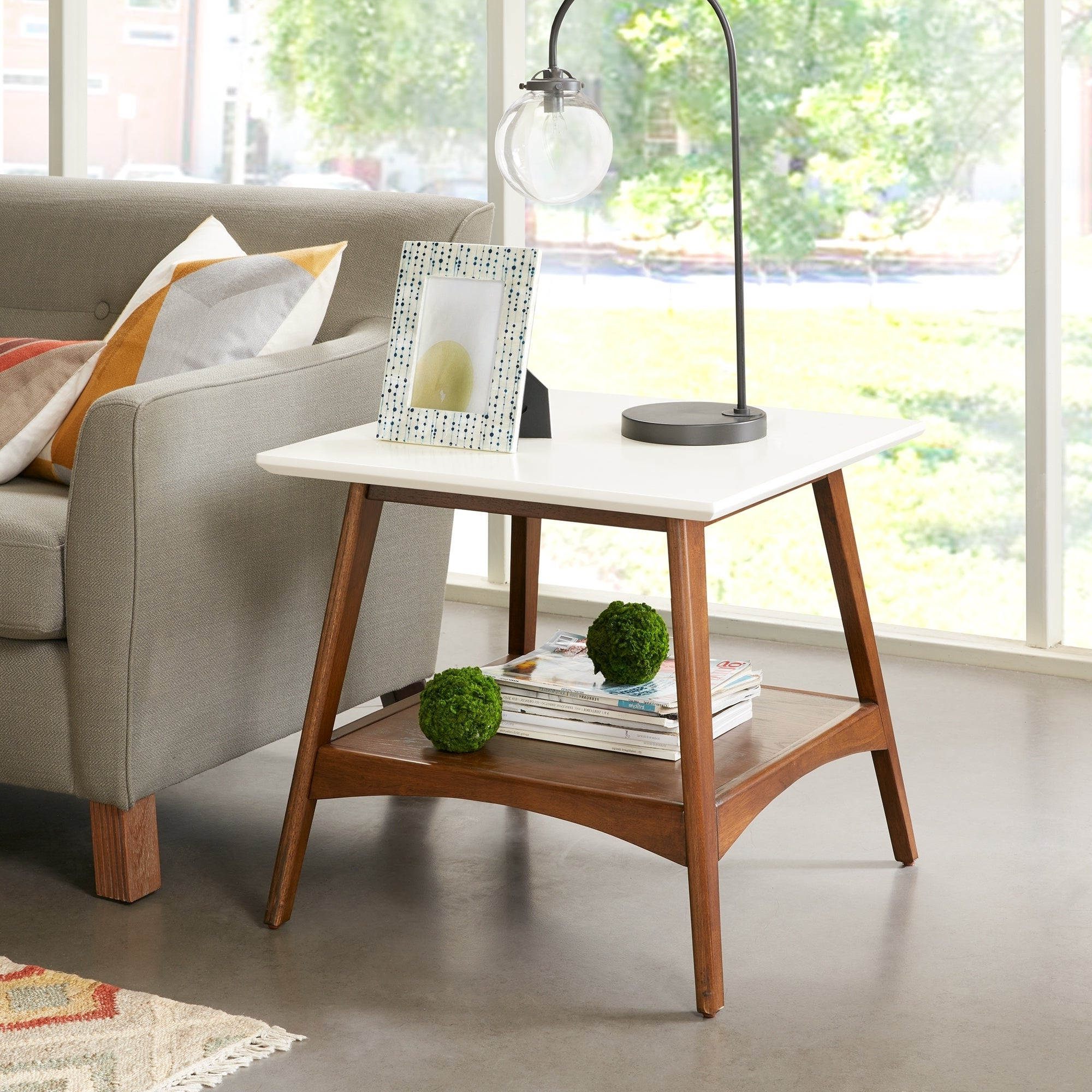 "Madison Park Avalon White/ Pecan End Table – 24""w X 24""d X 22""h In Recent Madison Park Avalon White Pecan Coffee Tables (View 4 of 20)"
