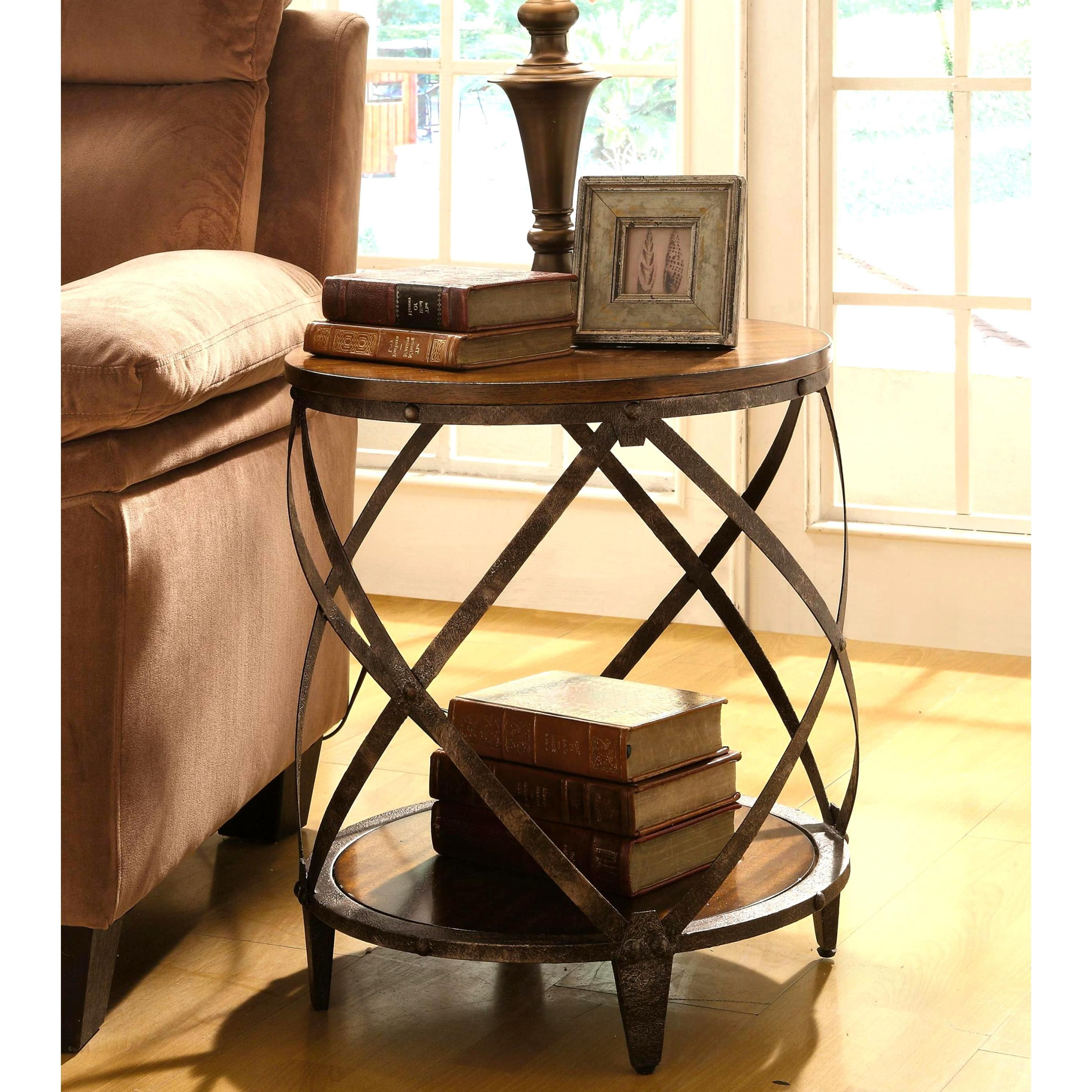 Magnison Distressed Wood/ Metal Drum Shape Accent Table For Most Popular Carbon Loft Fischer Brown Solid Birch And Iron Rustic Coffee Tables (View 13 of 20)