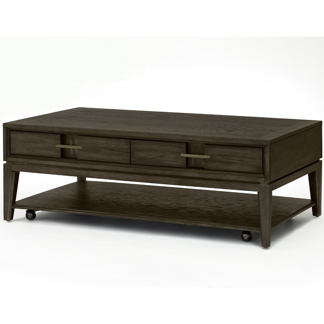 Magnussen Proximity Heights Rectangular Cocktail Table With Casters In Smoked Anthracite Intended For Most Current Winslet Cherry Finish Wood Oval Coffee Tables With Casters (View 16 of 20)