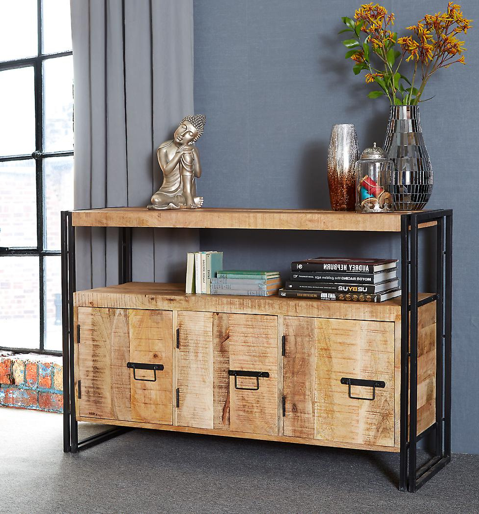 Maison Industrial Metal & Wood 3 Drawer Sideboard Pertaining To Longley Sideboards (View 5 of 20)