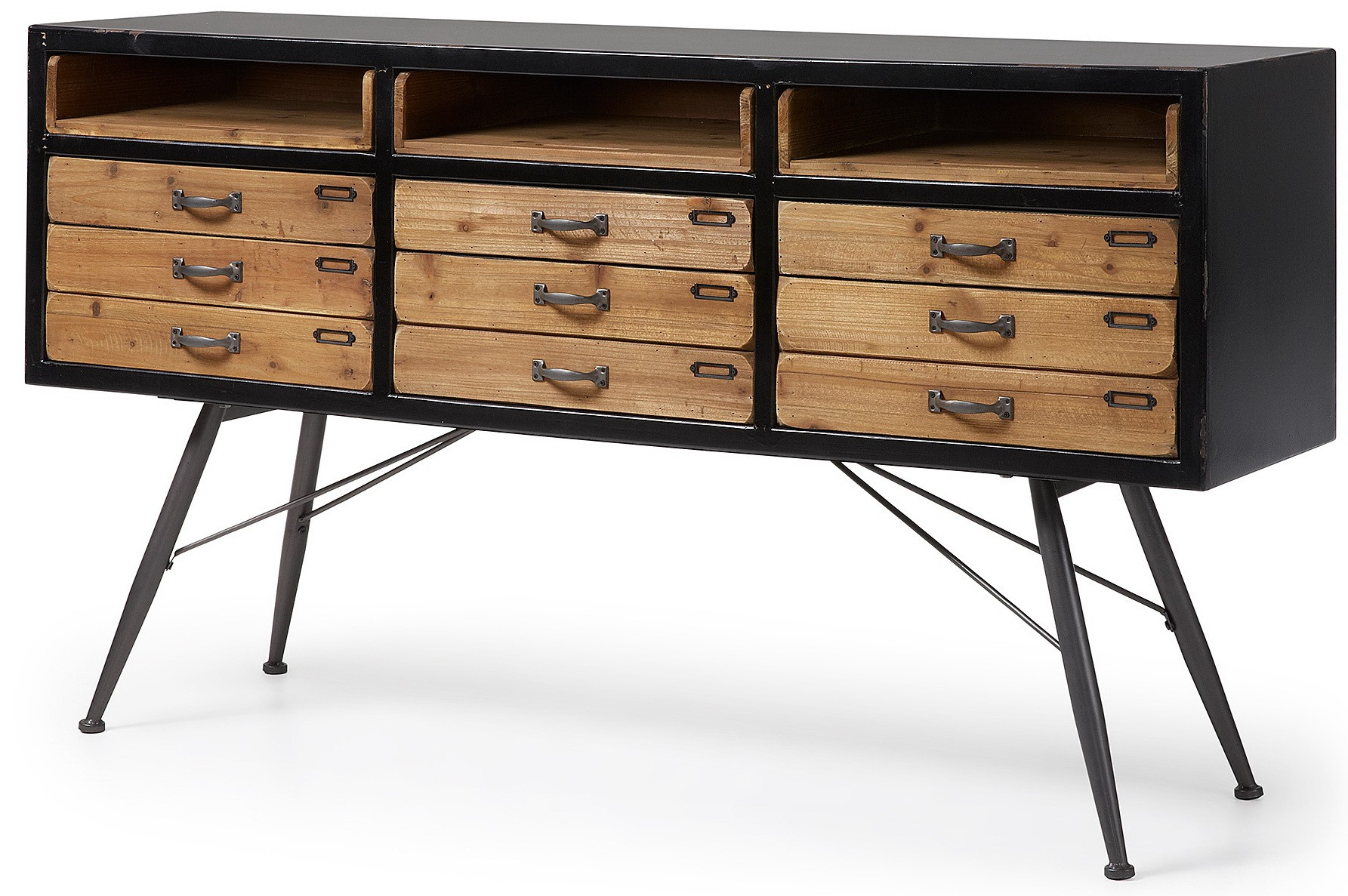 Malcom 155x40 In Black Wood And Aged Metal Foot Sideboard With Regard To Malcom Buffet Table (View 17 of 20)