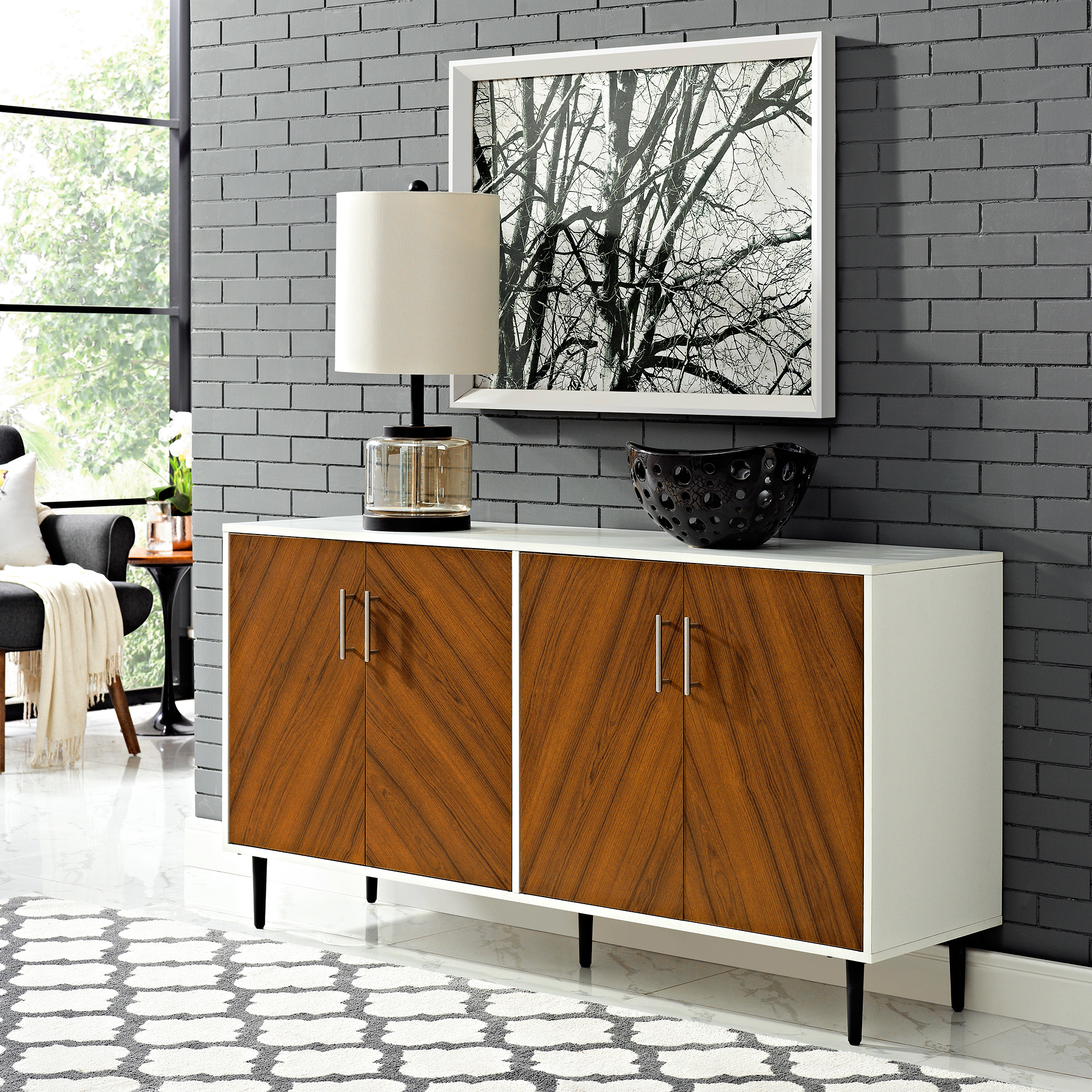 Manor Park Mid Century Modern Bookmatch Buffet – White/teak Throughout Keiko Modern Bookmatch Sideboards (View 9 of 20)