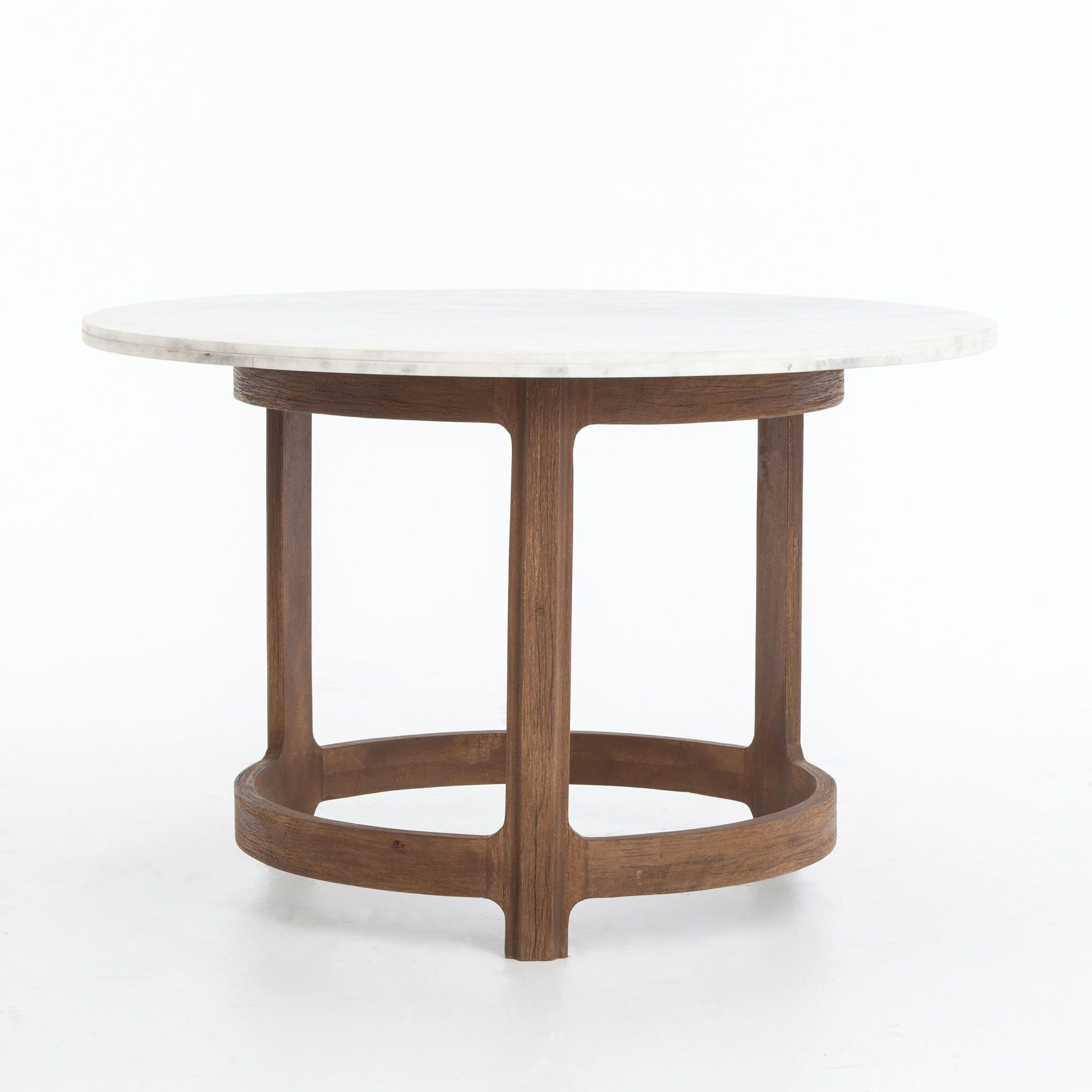 Marin Bistro Table In Polished White Marble Top On Weathered Throughout Well Known Silver Orchid Henderson Faux Stone Round End Tables (View 15 of 20)