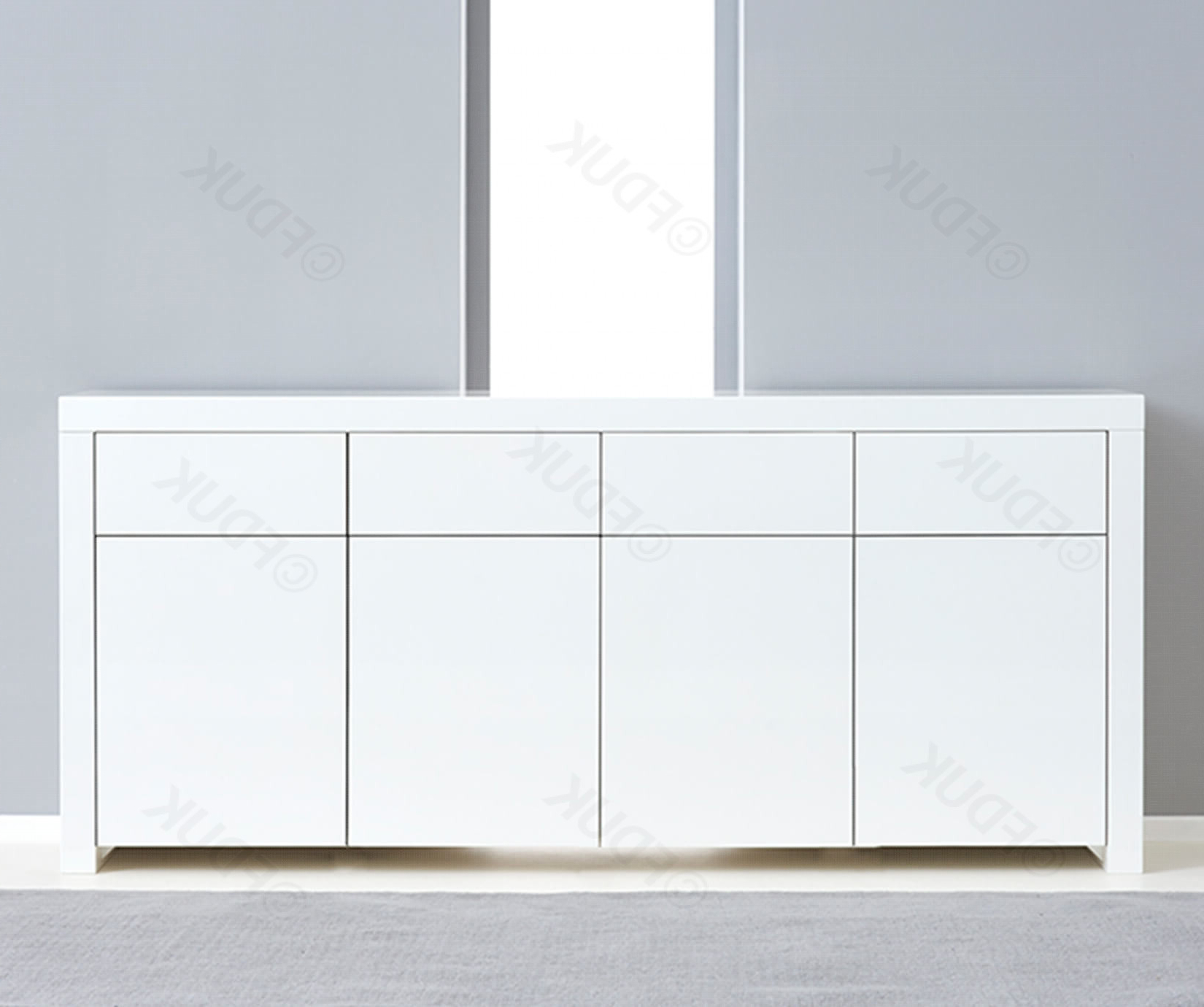 Mark Harris Hereford 4 Door 4 Drawer White High Gloss Sideboard Fduk Best  Price Guarantee We Will Beat Our Competitors Price! Give Our Sales Team A With Regard To Malibu 2 Door 4 Drawer Sideboards (View 17 of 20)