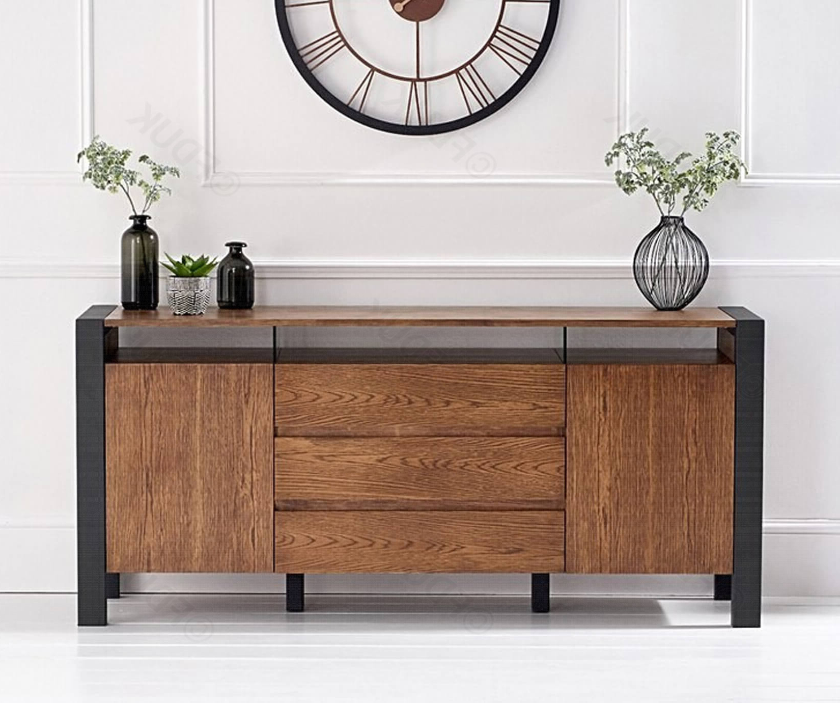 Mark Harris Montana Oak 2 Door 3 Drawer Sideboard With Black Steel Legs  Fduk Best Price Guarantee We Will Beat Our Competitors Price! Give Our  Sales Inside Malibu 2 Door 1 Drawer Sideboards (View 15 of 20)