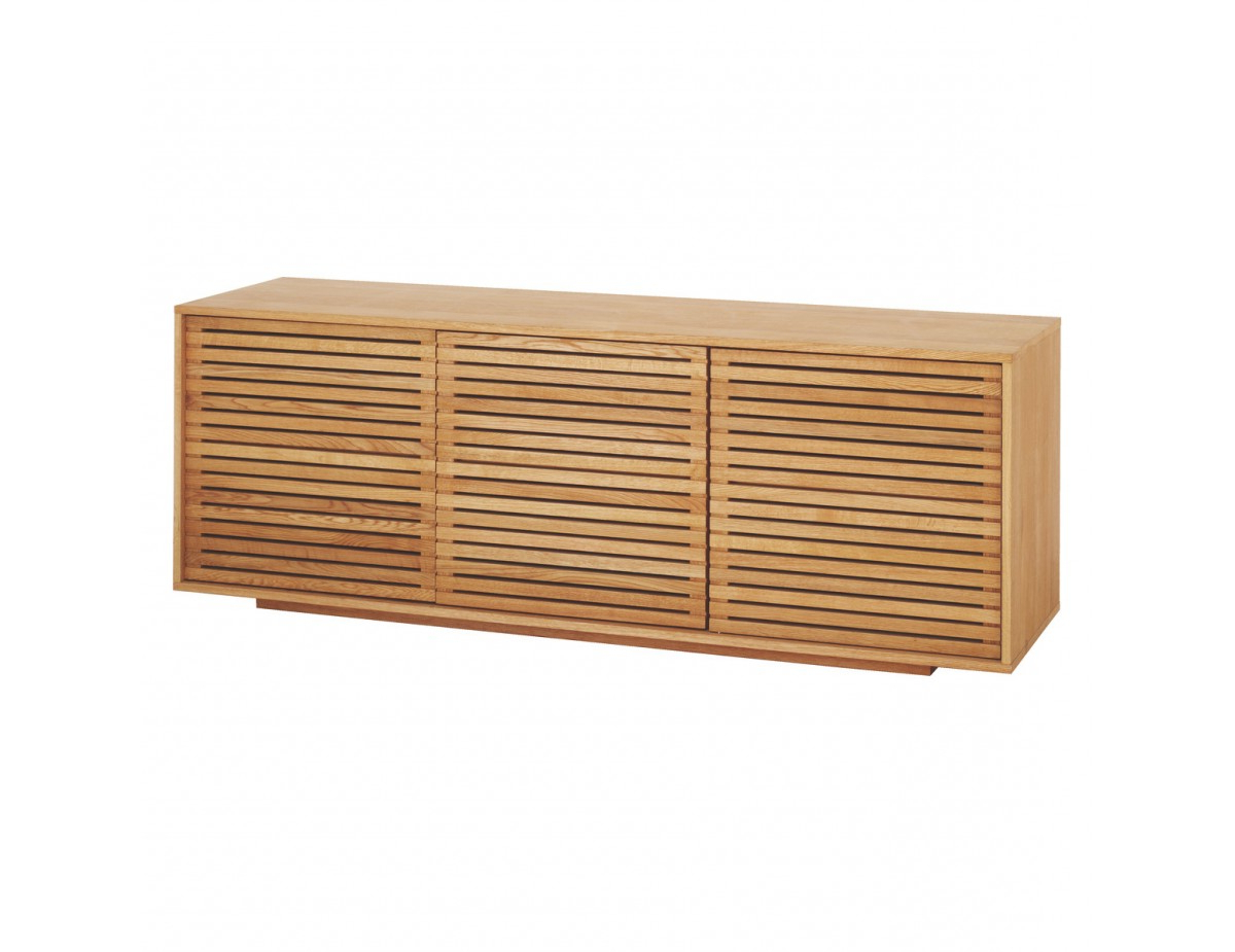 Max Oiled Solid Oak 3 Door Sideboard With Slatted Doors With Ruskin Sideboards (View 19 of 20)