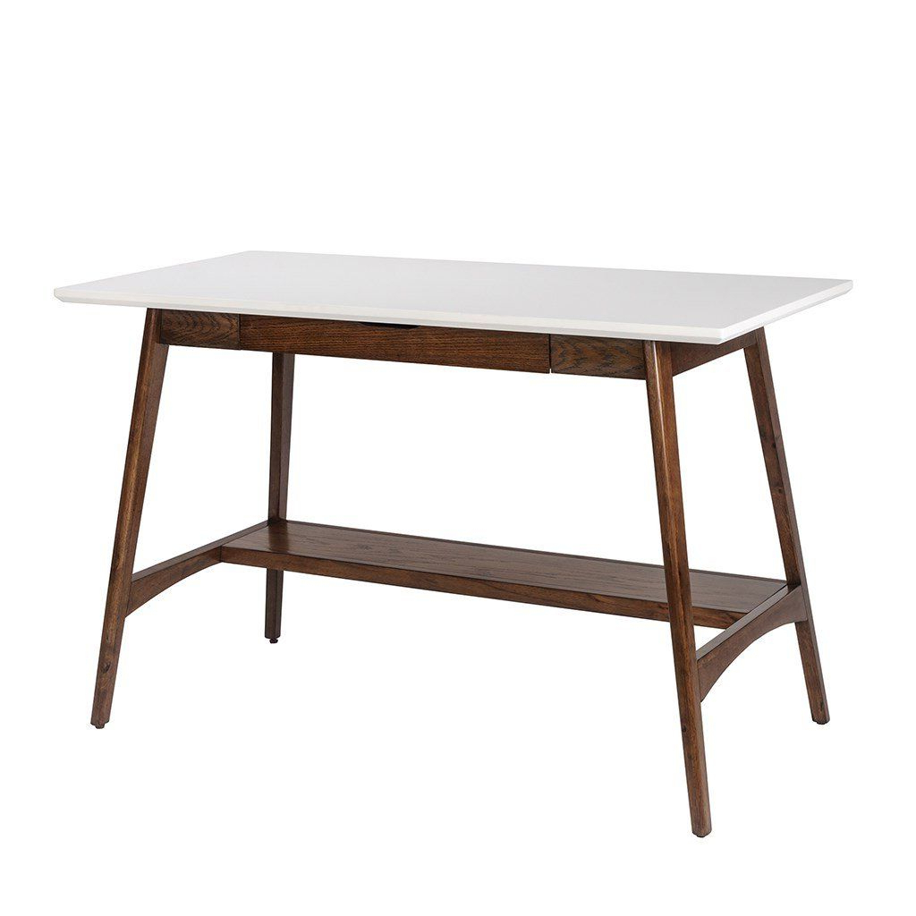 Mid Century Modern Desk With Keyboard Drawer In White And Within Best And Newest Madison Park Avalon White Pecan Coffee Tables (View 10 of 20)