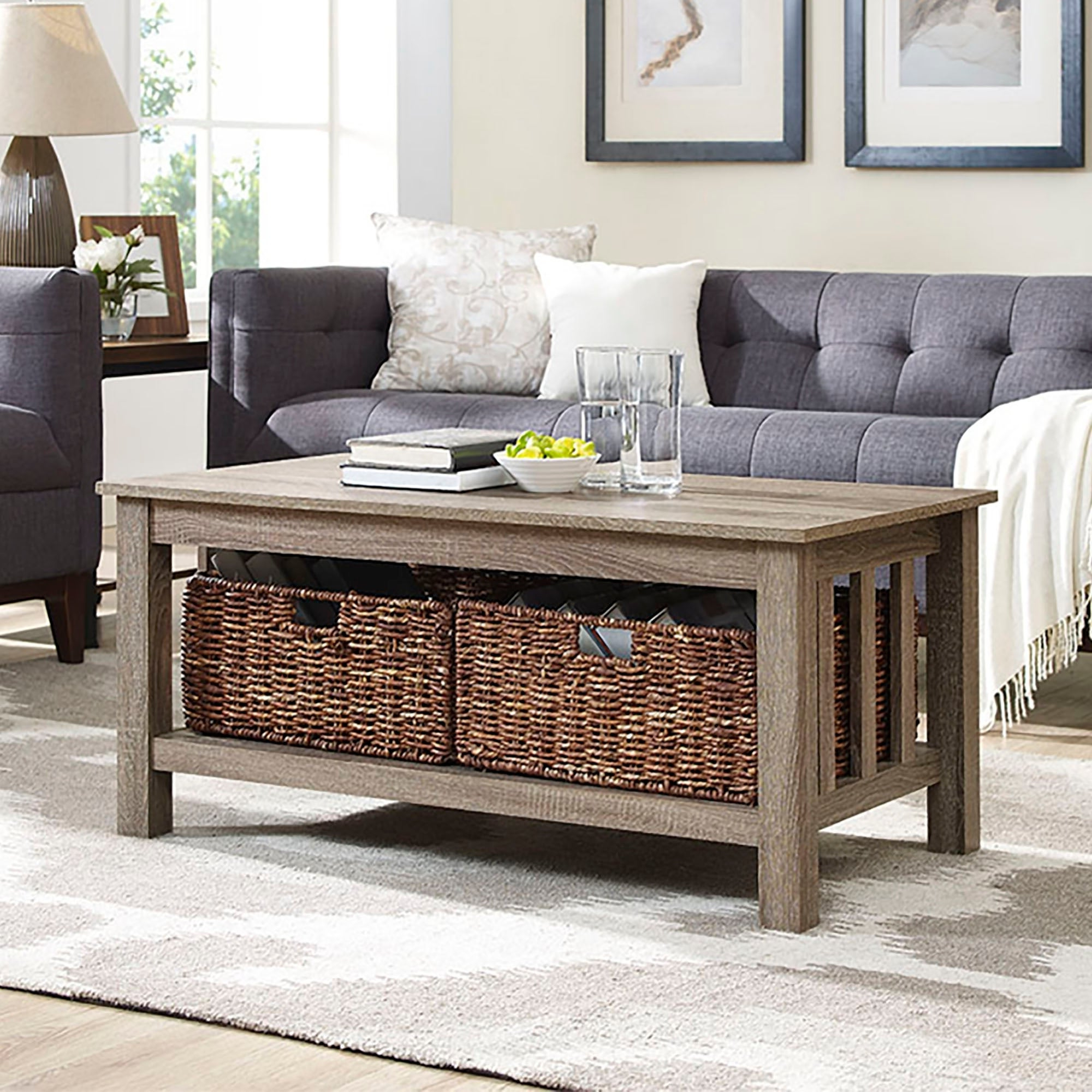 Middlebrook Designs 40 Inch Coffee Table With Wicker Storage Baskets, Driftwood, Rustic Living Room Table – 40 X 22 X 18h For Most Up To Date Rustic Coffee Tables With Wicker Storage Baskets (View 3 of 20)