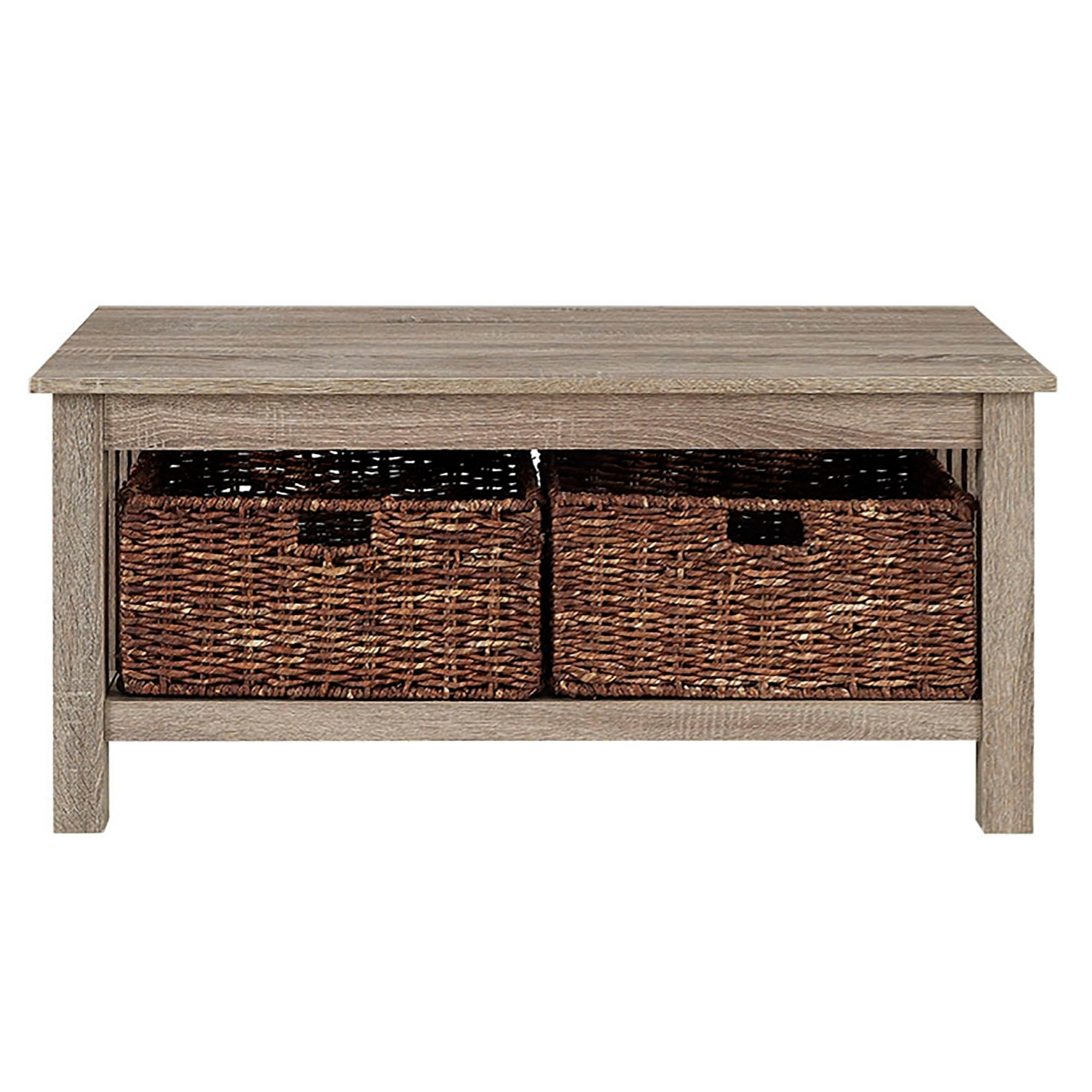 Middlebrook Designs 40 Inch Coffee Table With Wicker Storage Baskets, Driftwood, Rustic Living Room Table – 40 X 22 X 18h Intended For Famous Rustic Coffee Tables With Wicker Storage Baskets (View 2 of 20)