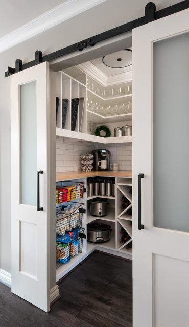Milford Kitchen Pantry For Latest Barn Door Walk In Pantry, Transitional Kitchen Remodel (View 9 of 20)