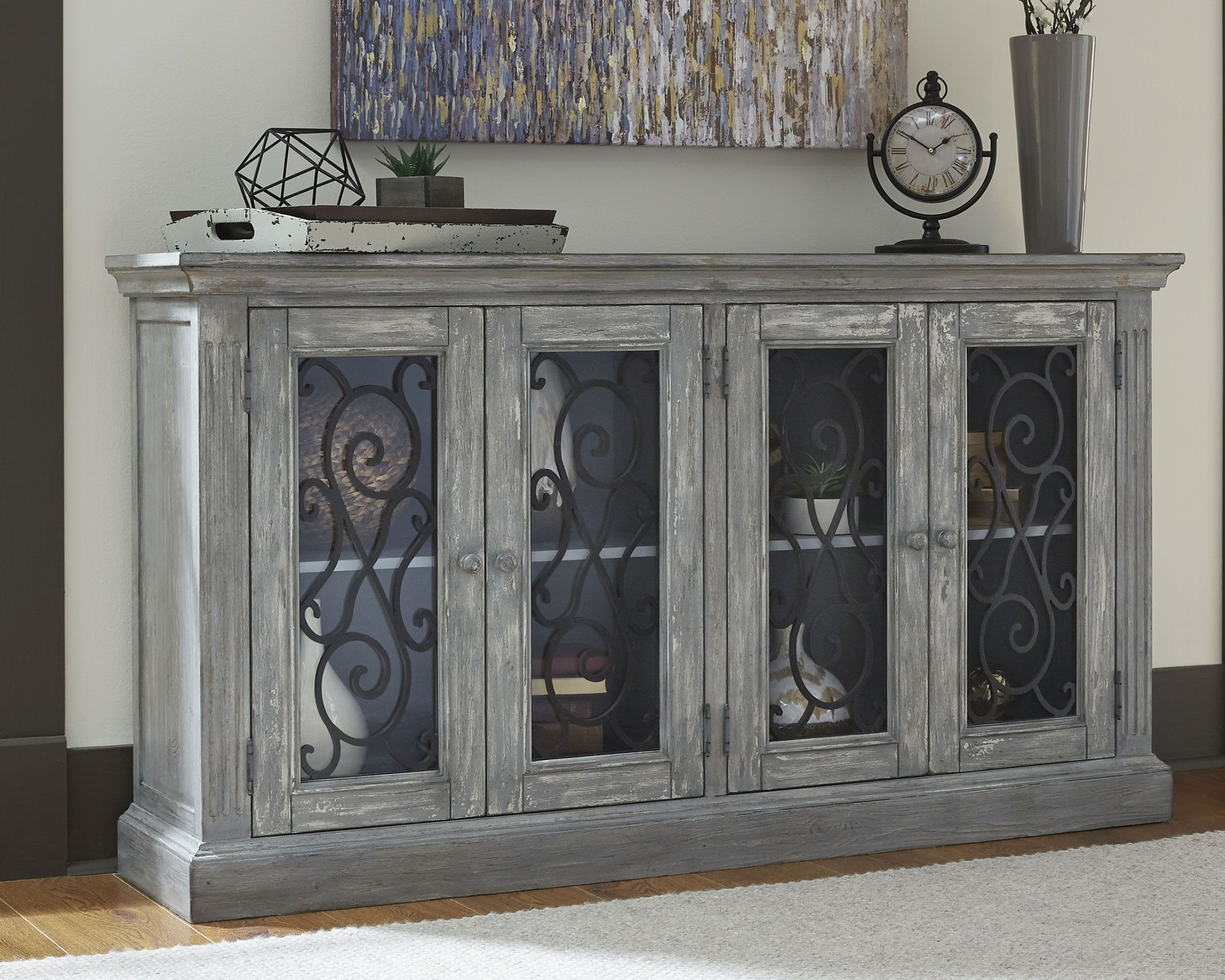 Mirimyn Door Accent Cabinet, Antique Gray | Dorm | Living With Kratz Sideboards (View 8 of 20)