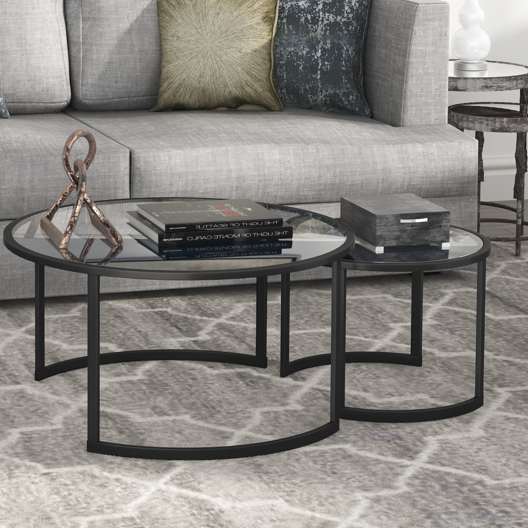Mitera 2 Piece Coffee Table Set For Widely Used Mitera Round Metal Glass Nesting Coffee Tables (View 7 of 20)