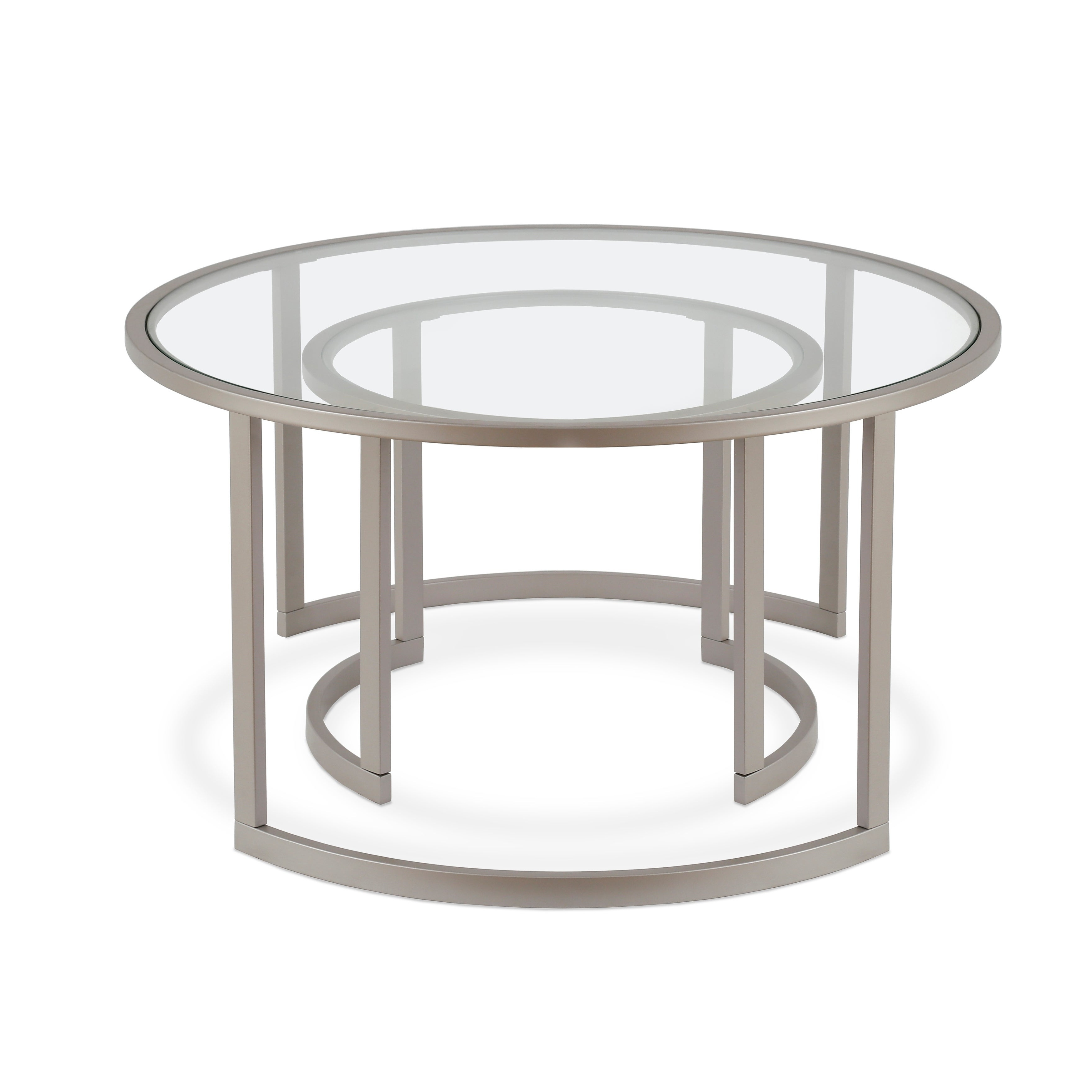 Mitera Round Metal/glass Nesting Coffee Tables Set Of 2 (Optional Finishes) In 2020 Mitera Round Metal Glass Nesting Coffee Tables (View 8 of 20)