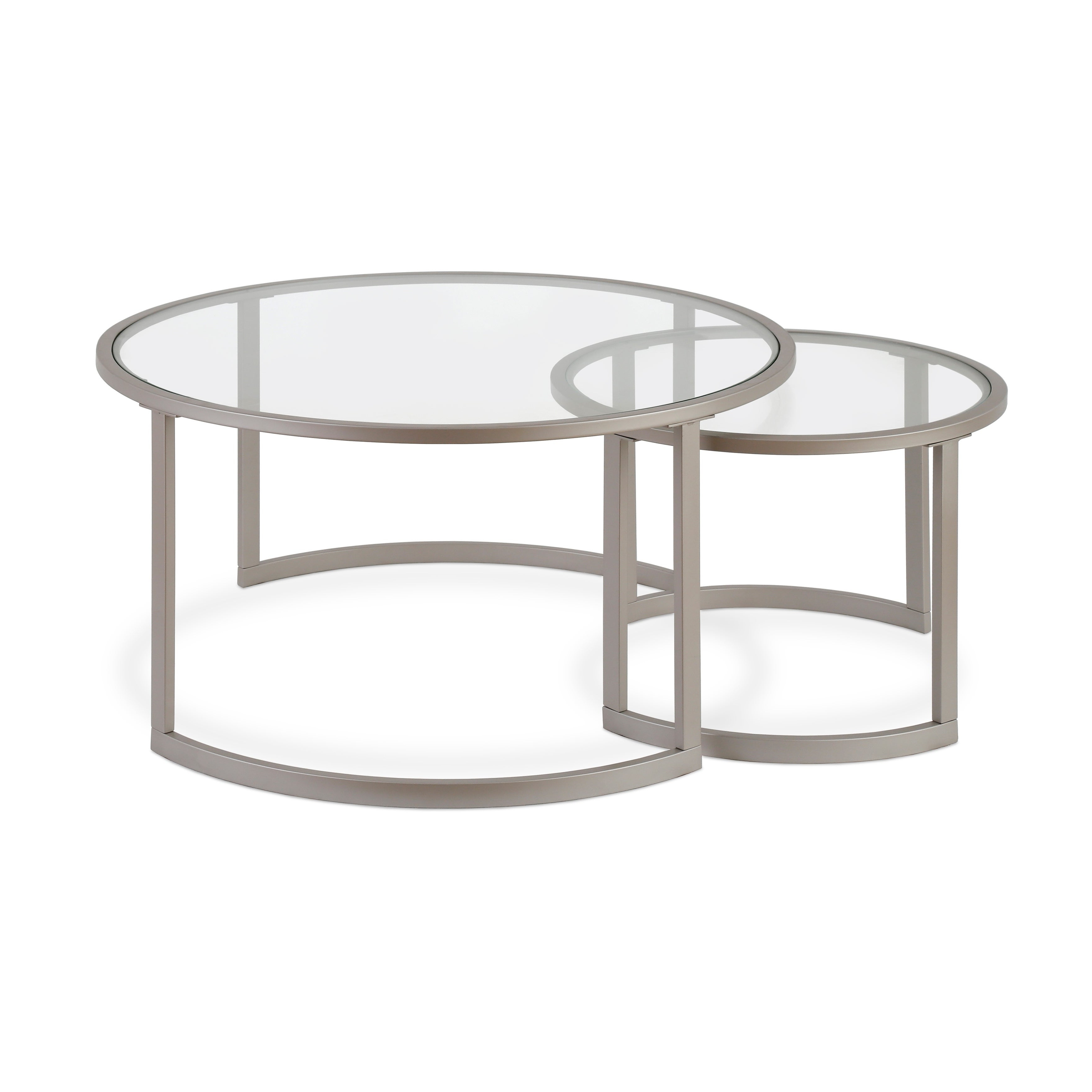 Mitera Round Metal/glass Nesting Coffee Tables Set Of 2 (Optional Finishes) Inside Well Known Mitera Round Metal Glass Nesting Coffee Tables (View 9 of 20)