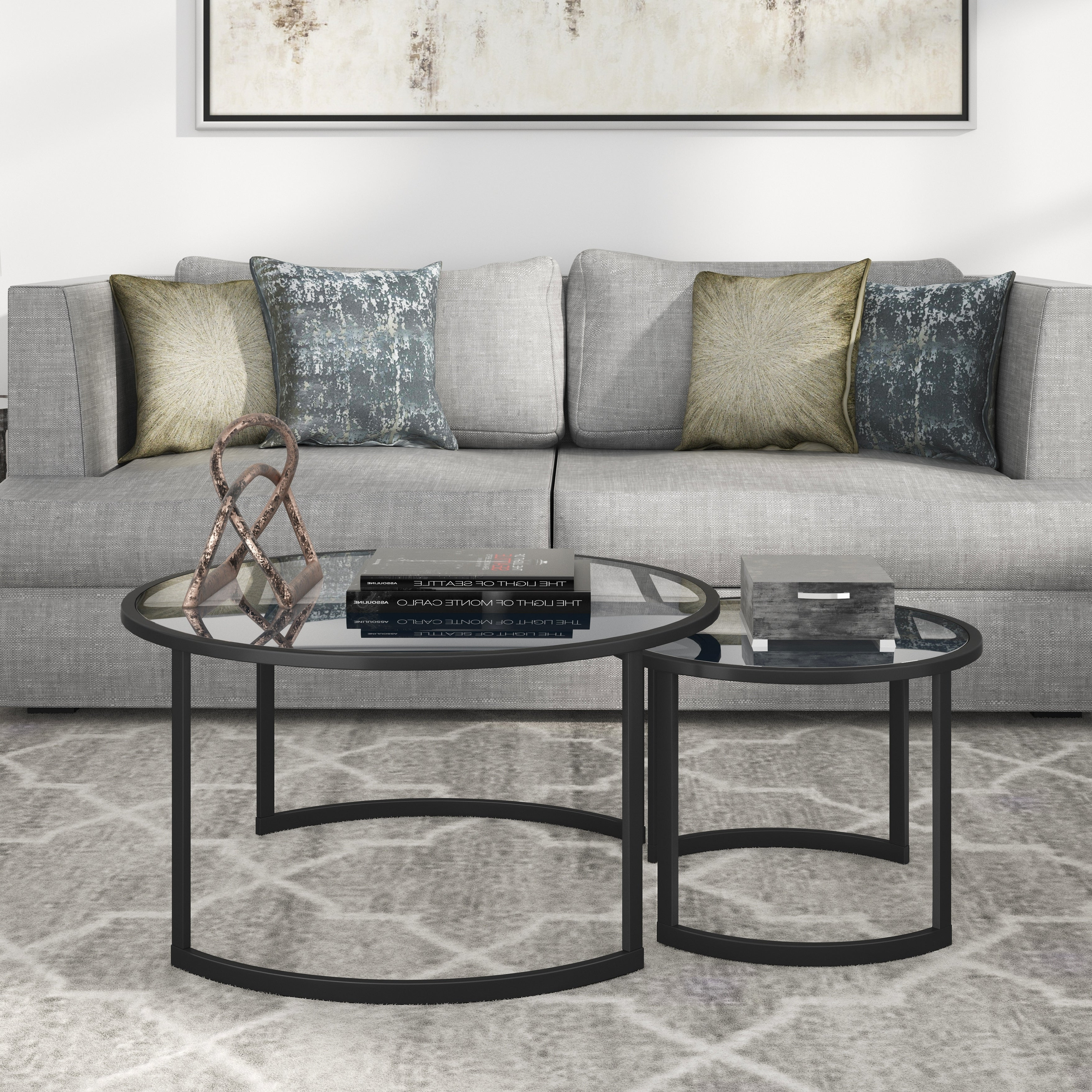 Featured Photo of Mitera Round Metal Glass Nesting Coffee Tables
