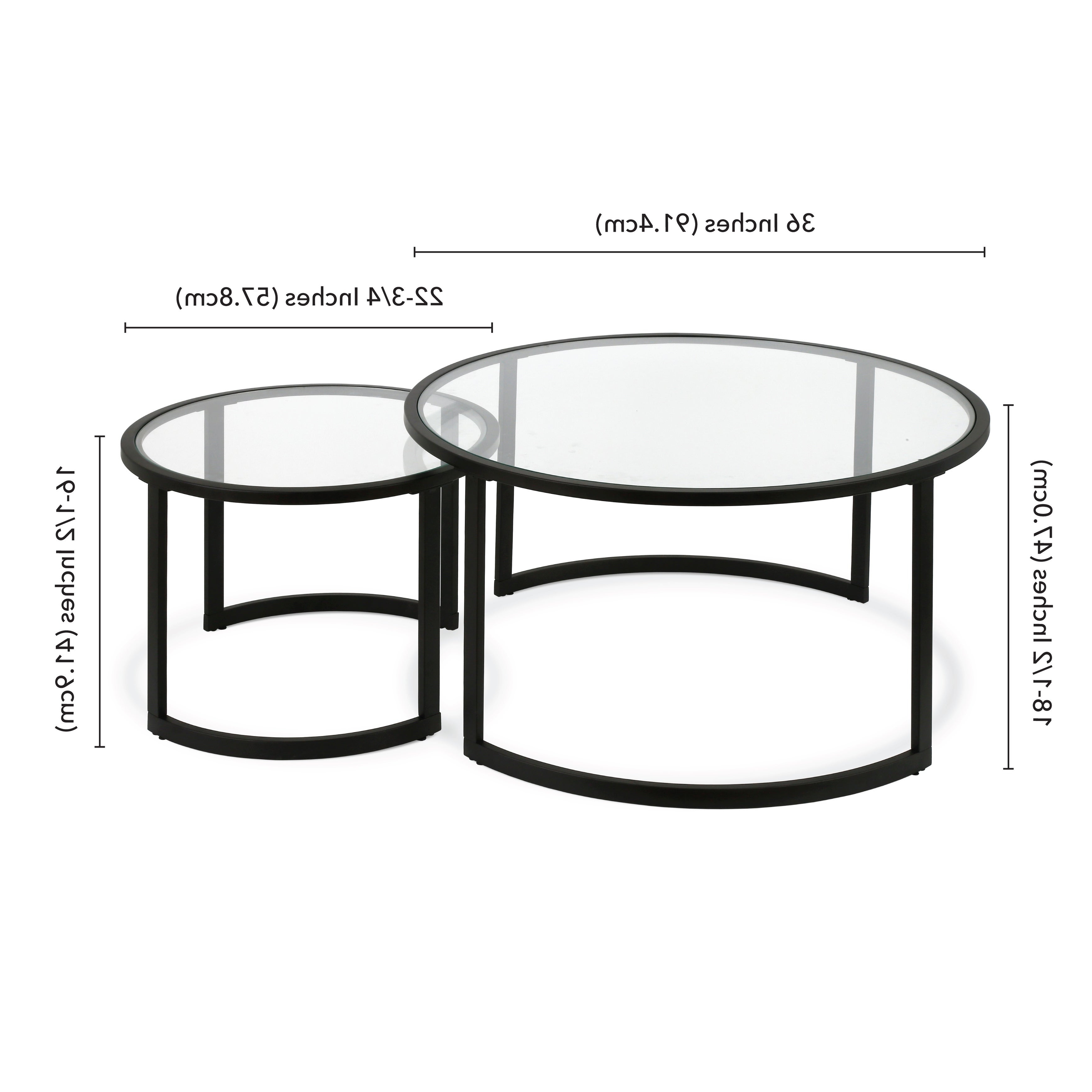 Mitera Round Metal/glass Nesting Coffee Tables Set Of 2 (Optional Finishes) With Best And Newest Mitera Round Metal Glass Nesting Coffee Tables (View 11 of 20)