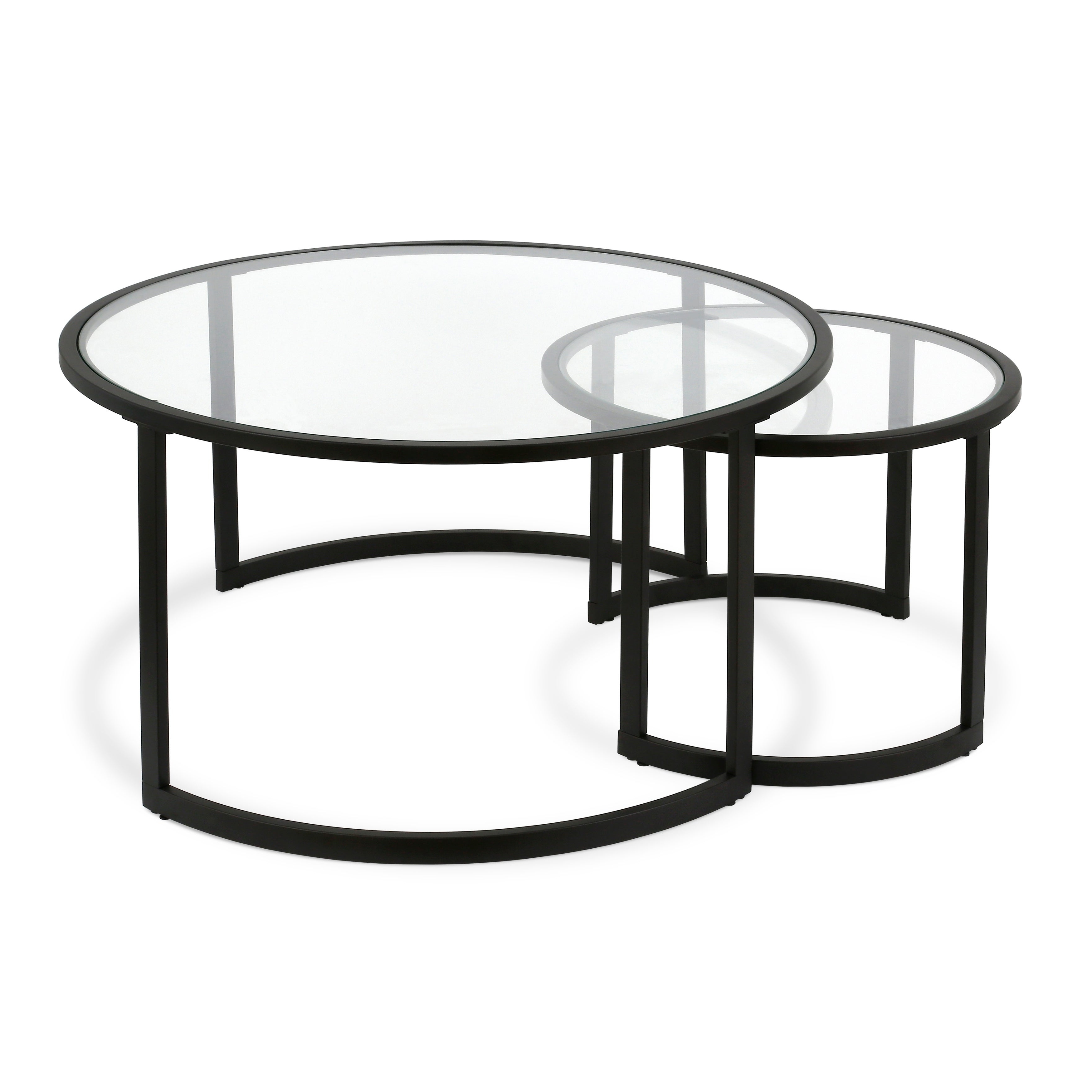 Mitera Round Metal/glass Nesting Coffee Tables Set Of 2 (Optional Finishes) Within Widely Used Mitera Round Metal Glass Nesting Coffee Tables (View 12 of 20)