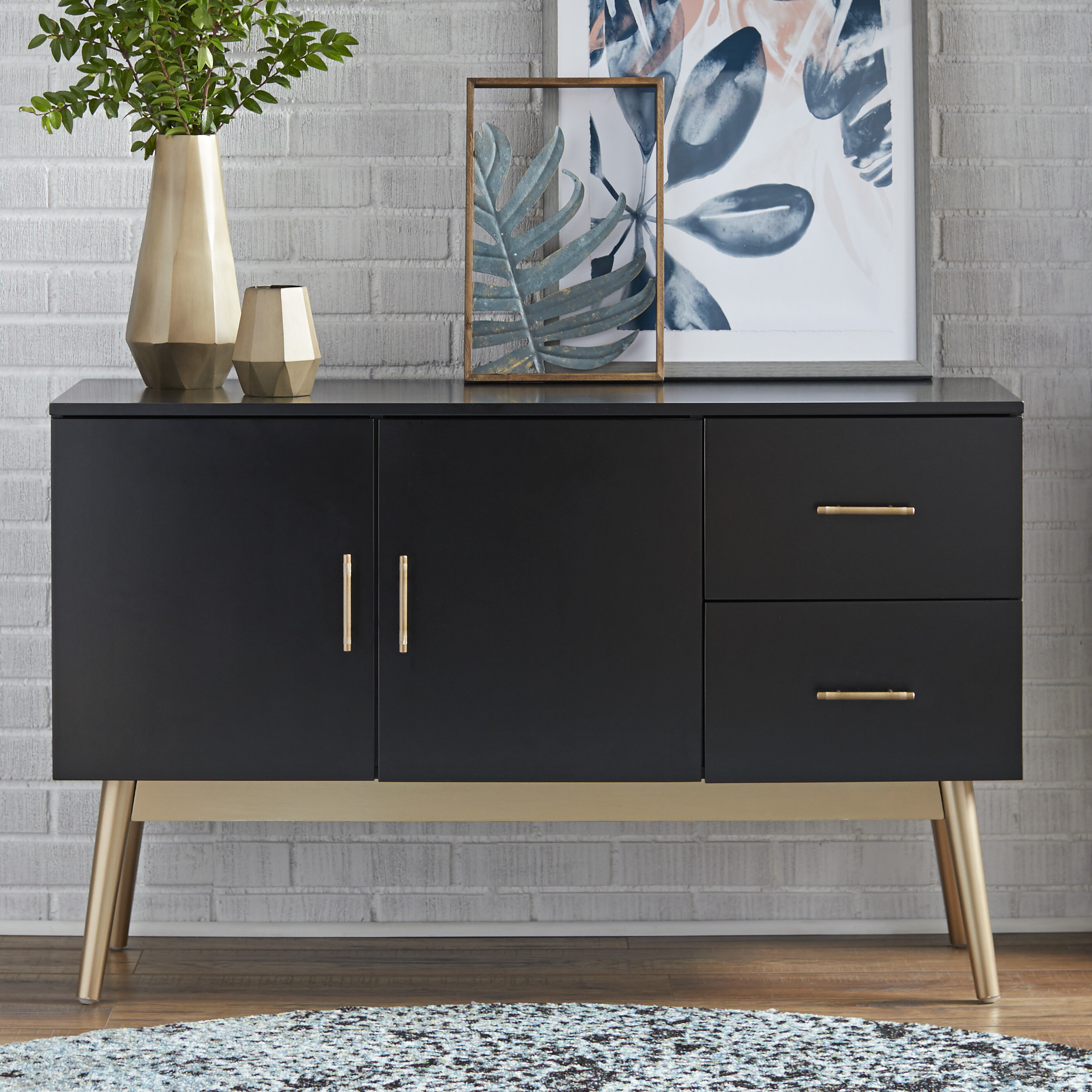 Modern & Contemporary High Gloss Black Sideboard | Allmodern With Emiliano Sideboards (View 10 of 20)