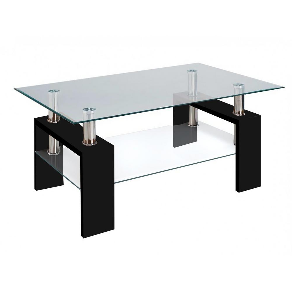 Modern Glass Black Coffee Table With Shelf Contemporary Living Room Pertaining To Best And Newest Contemporary Chrome Glass Top And Mirror Shelf Coffee Tables (View 8 of 20)