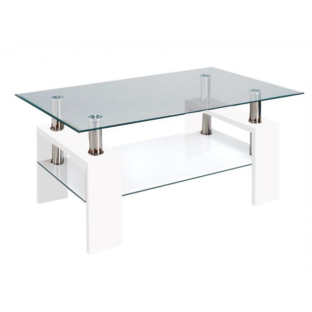 Modern Glass White Coffee Table With Shelf Contemporary Living Room Intended For Most Current Contemporary Chrome Glass Top And Mirror Shelf Coffee Tables (View 9 of 20)