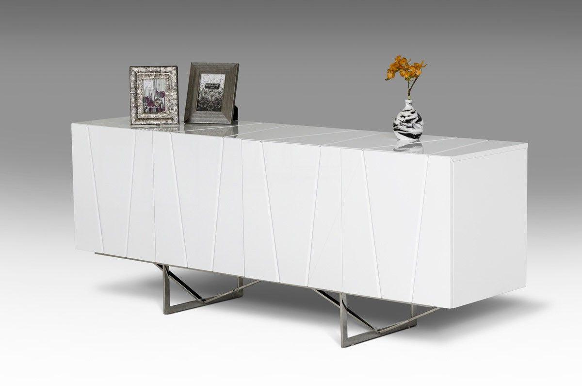 Modrest Chrysler Modern White High Gloss Buffet – Dining For Malcom Buffet Table (View 13 of 20)