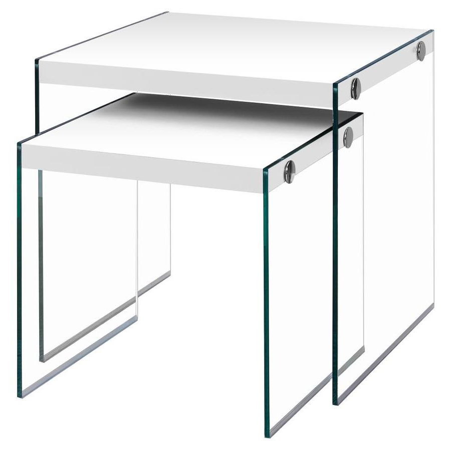 Monarch Specialties 2 Piece Glossy White Accent Table Set At Inside Best And Newest Glossy White Hollow Core Tempered Glass Cocktail Tables (View 6 of 20)