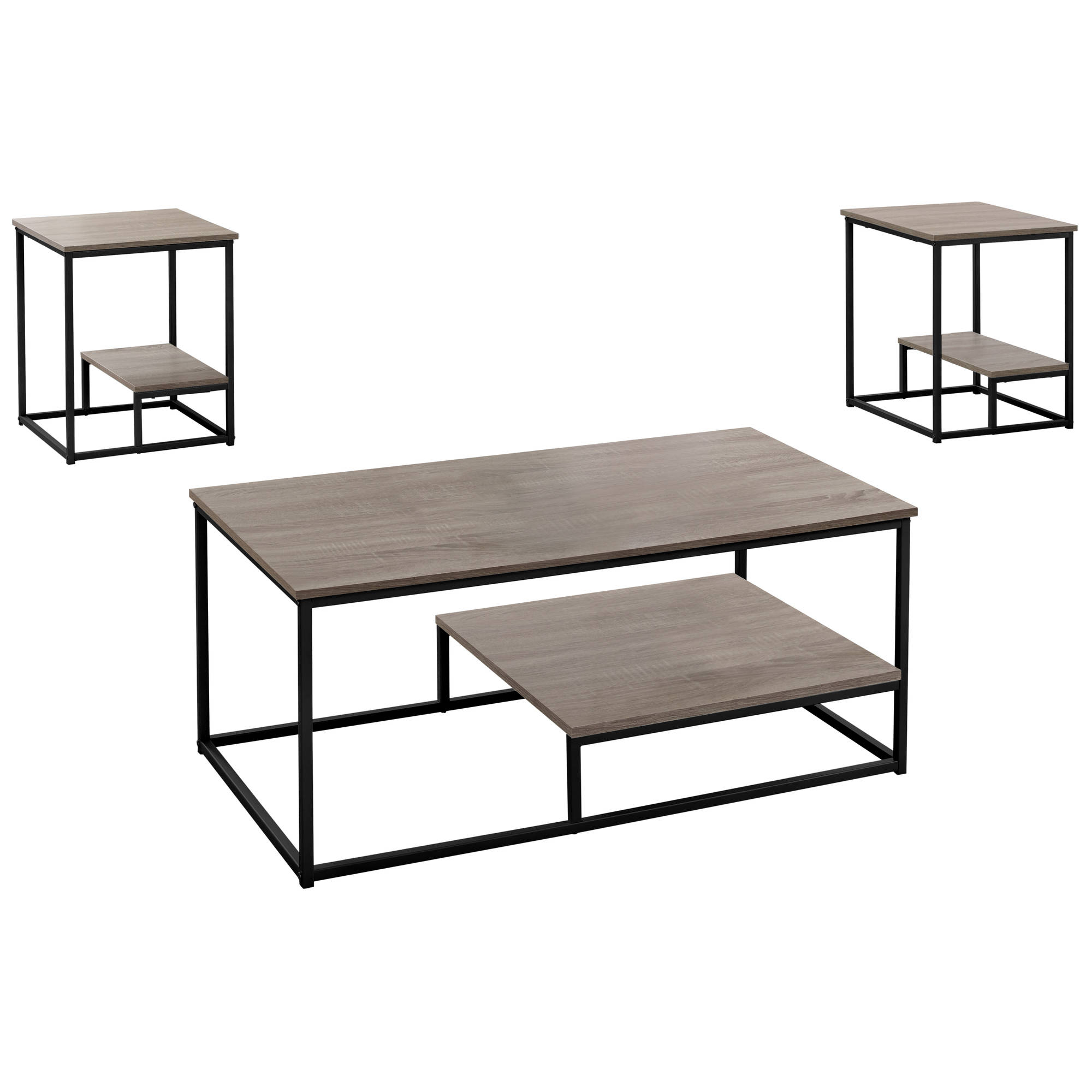 Monarch Specialties Taupe Black 3Pc Occasional Table Set With Regard To Trendy Occasional Contemporary Black Coffee Tables (View 10 of 20)