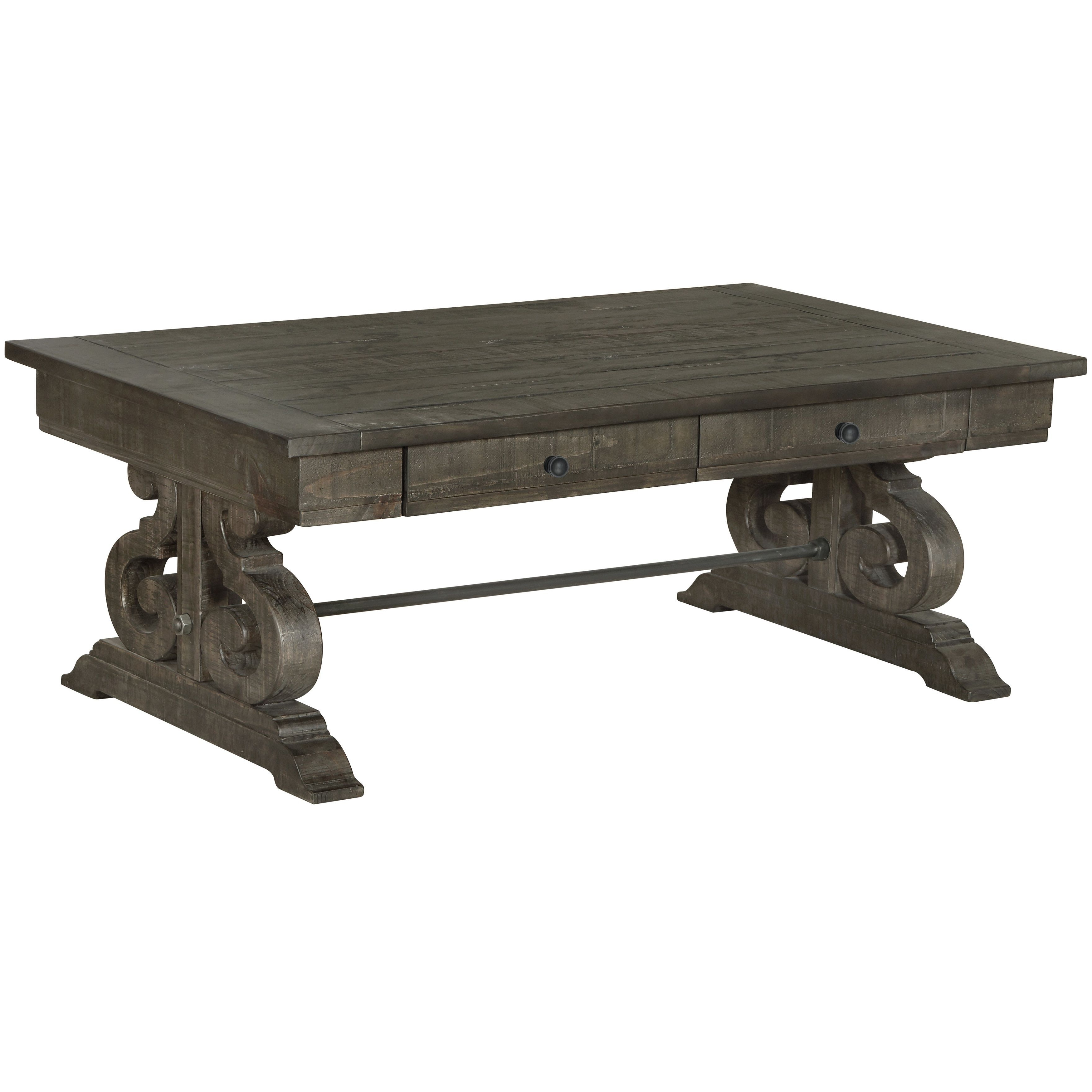 Featured Photo of Bellamy Traditional Weathered Peppercorn Storage Coffee Tables