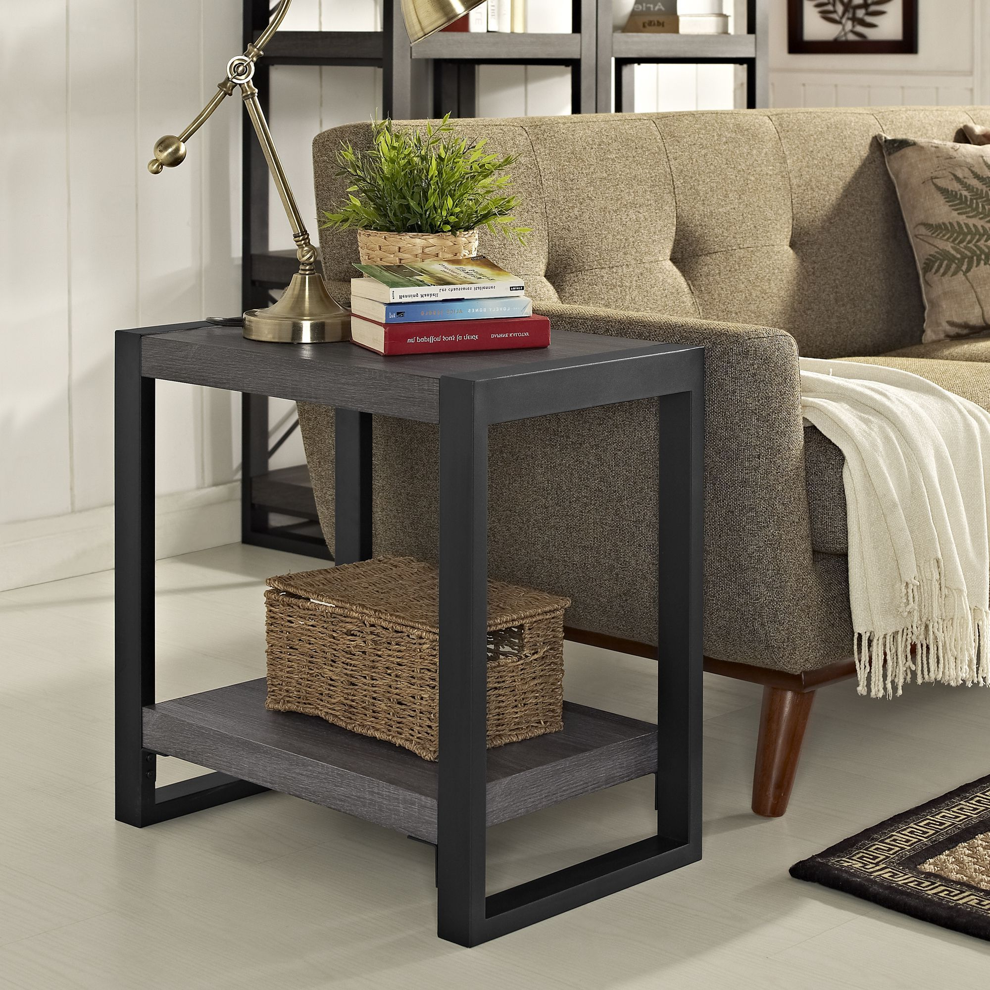 """Most Current Carbon Loft Witten Angle Iron And Driftwood Coffee Tables Pertaining To Angelo:home 24"""" Side Table – Charcoal – 24 X 16 X 24H (View 10 of 20)"""
