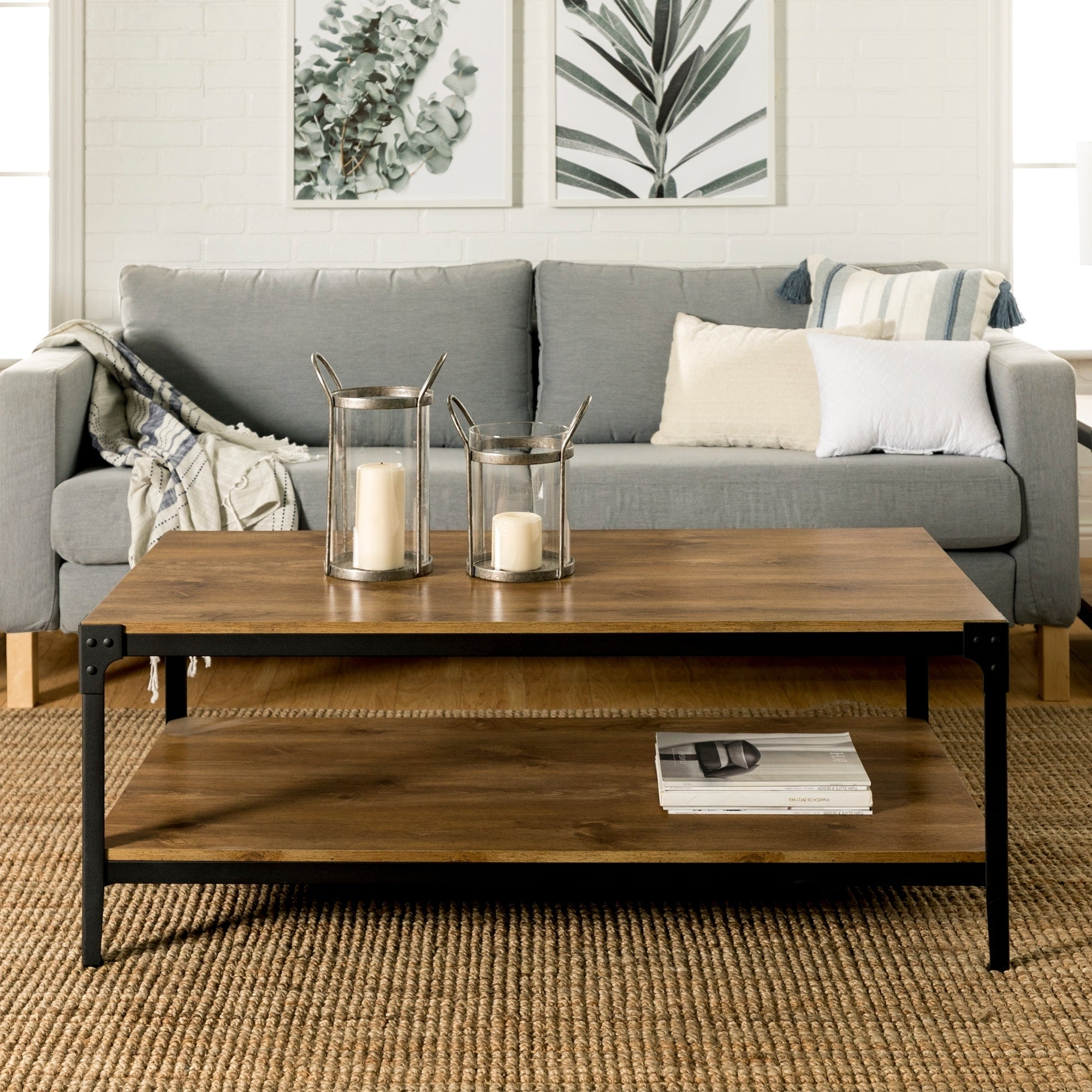 Most Current Carbon Loft Witten Angle Iron And Driftwood Coffee Tables Throughout Carbon Loft Witten Angle Iron And Barnwood Coffee Table – 48 X 24 X 18H (View 11 of 20)