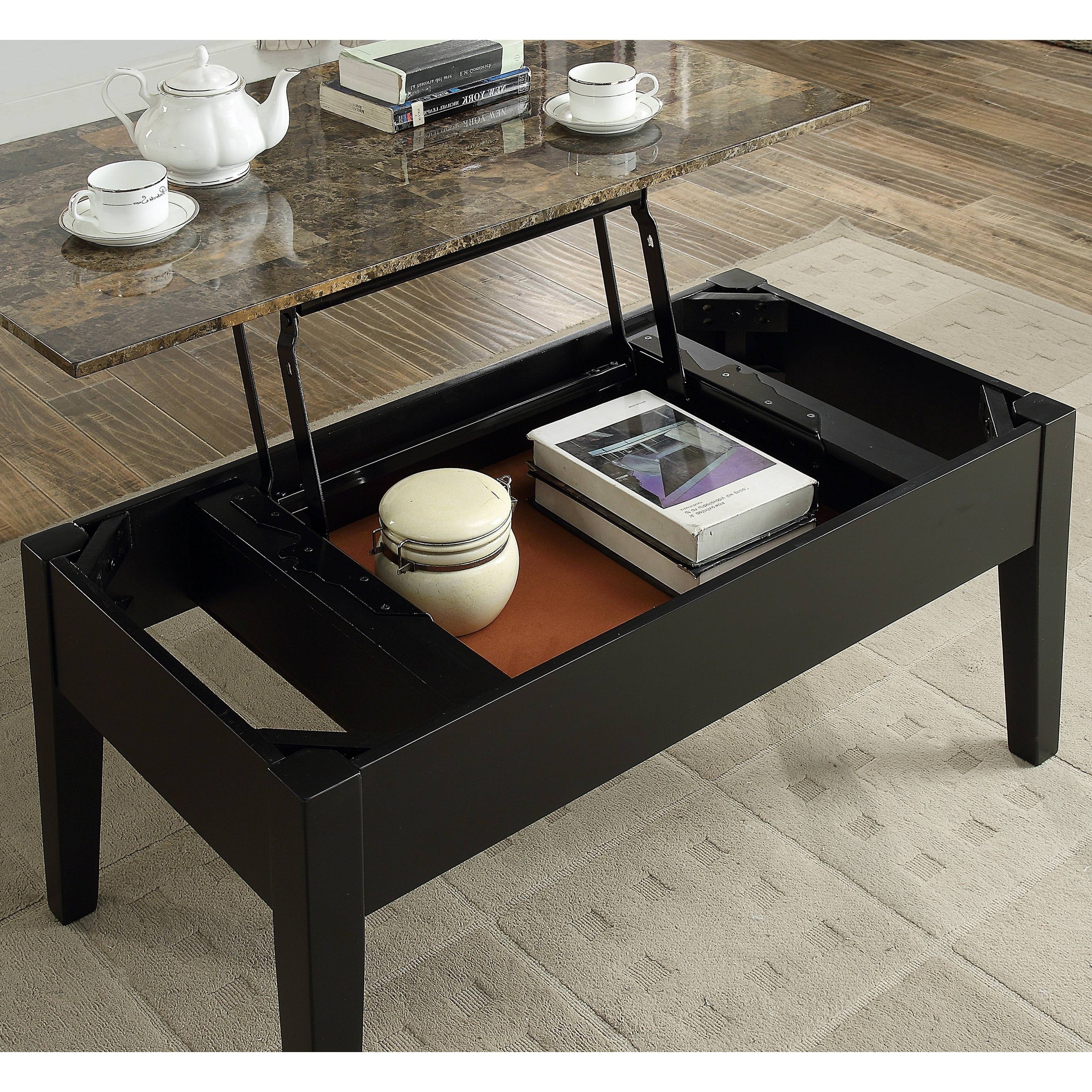 Most Current Copper Grove Liatris Black And Satin Silver Coffee Tables Inside Buy Lift Top, Transitional Coffee, Console, Sofa & End (View 12 of 20)