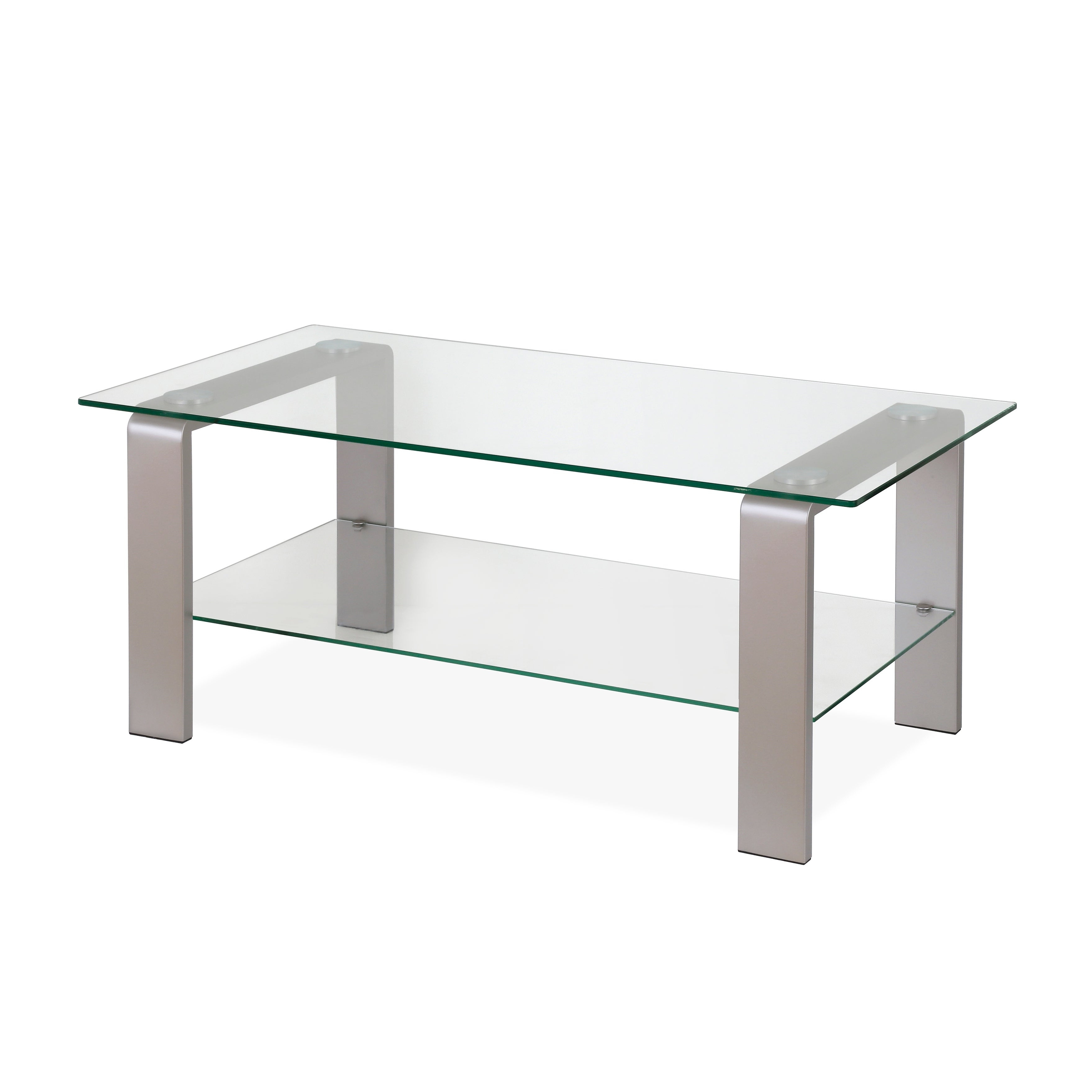 Most Current Finbar Modern Rectangle Glass Coffee Tables Throughout Asta Metal & Glass Coffee Table In Silver Nickel Finish (View 14 of 20)